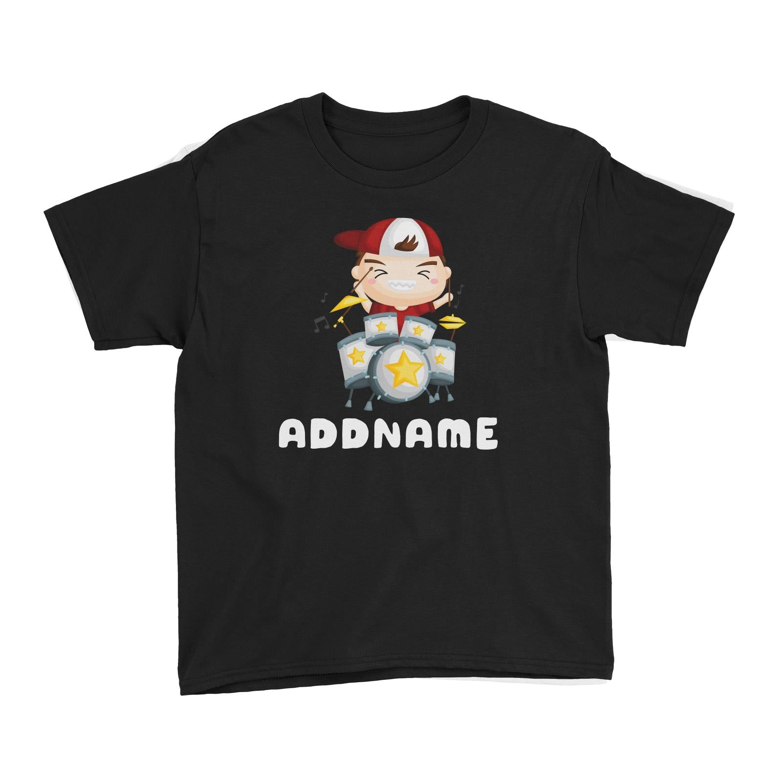 Birthday Music Band Boy Playing Drums Addname Kid's T-Shirt