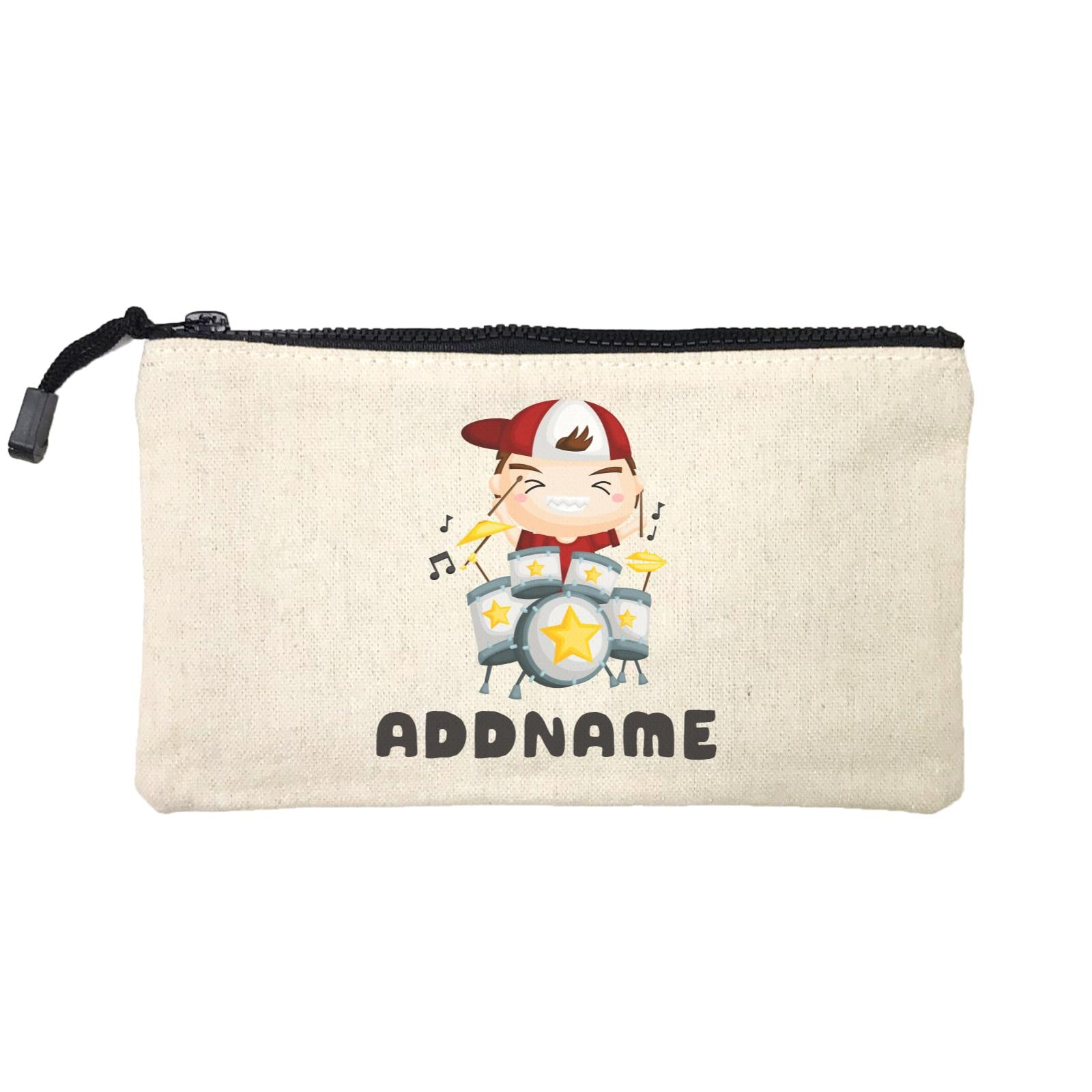 Birthday Music Band Boy Playing Drums Addname Mini Accessories Stationery Pouch