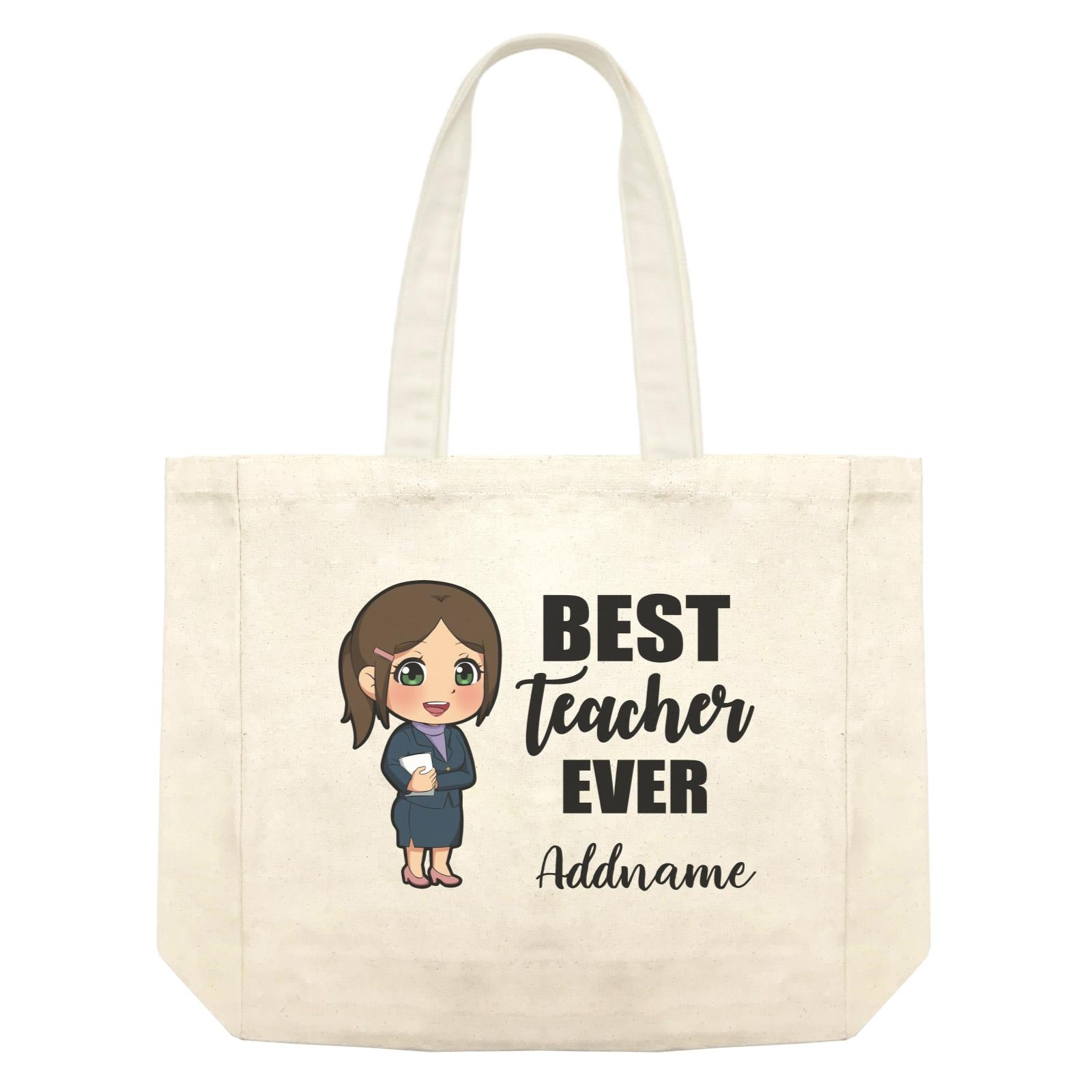 Chibi Teachers Chinese Woman Best Teacher Ever Addname Shopping Bag