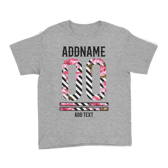 Pink Hibiscus Flower Stripes Jersey Personalizable with Name Number and Text Kid's T-Shirt