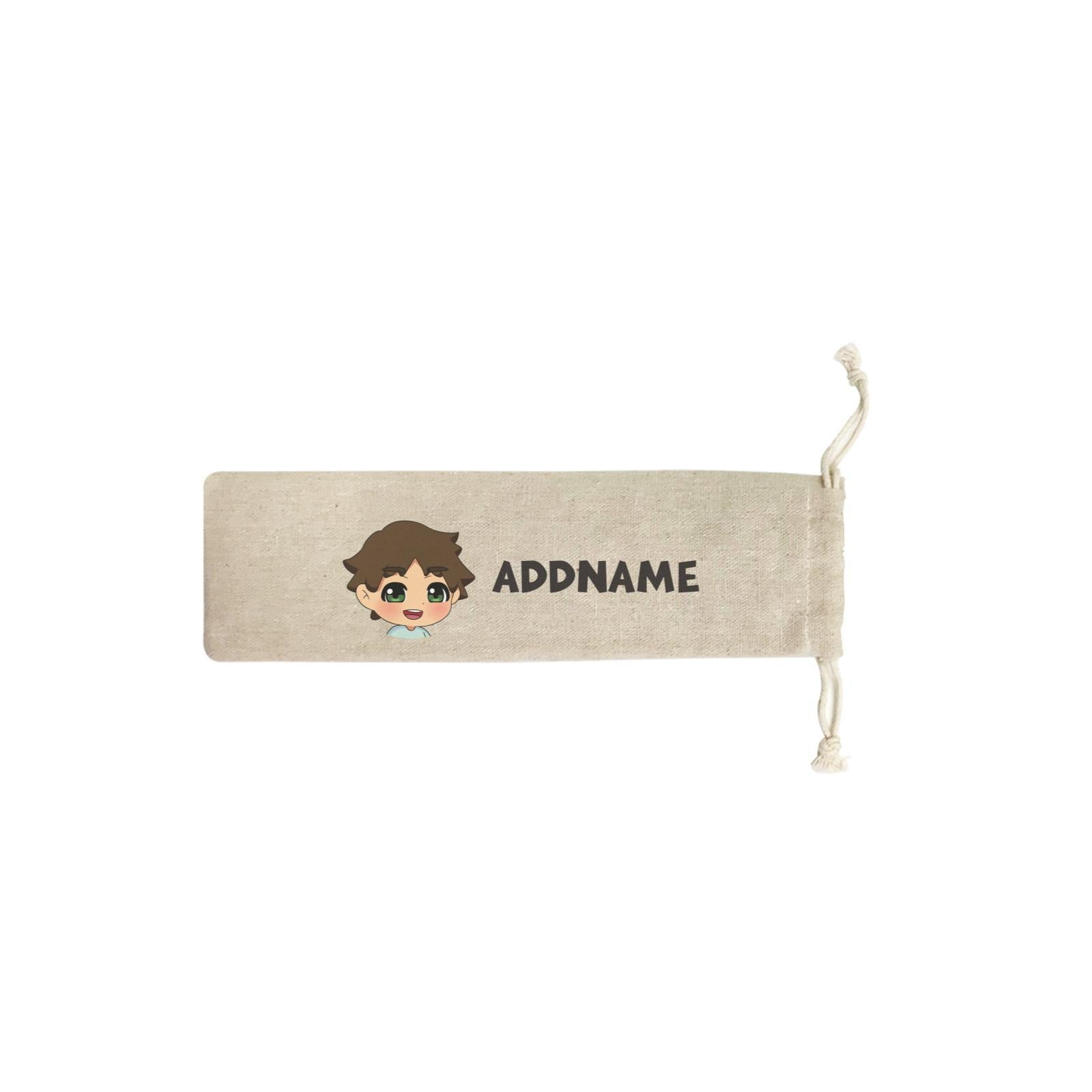 Children's Day Gift Series Little Boy Facing Left Addname SB Straw Pouch (No Straws included)