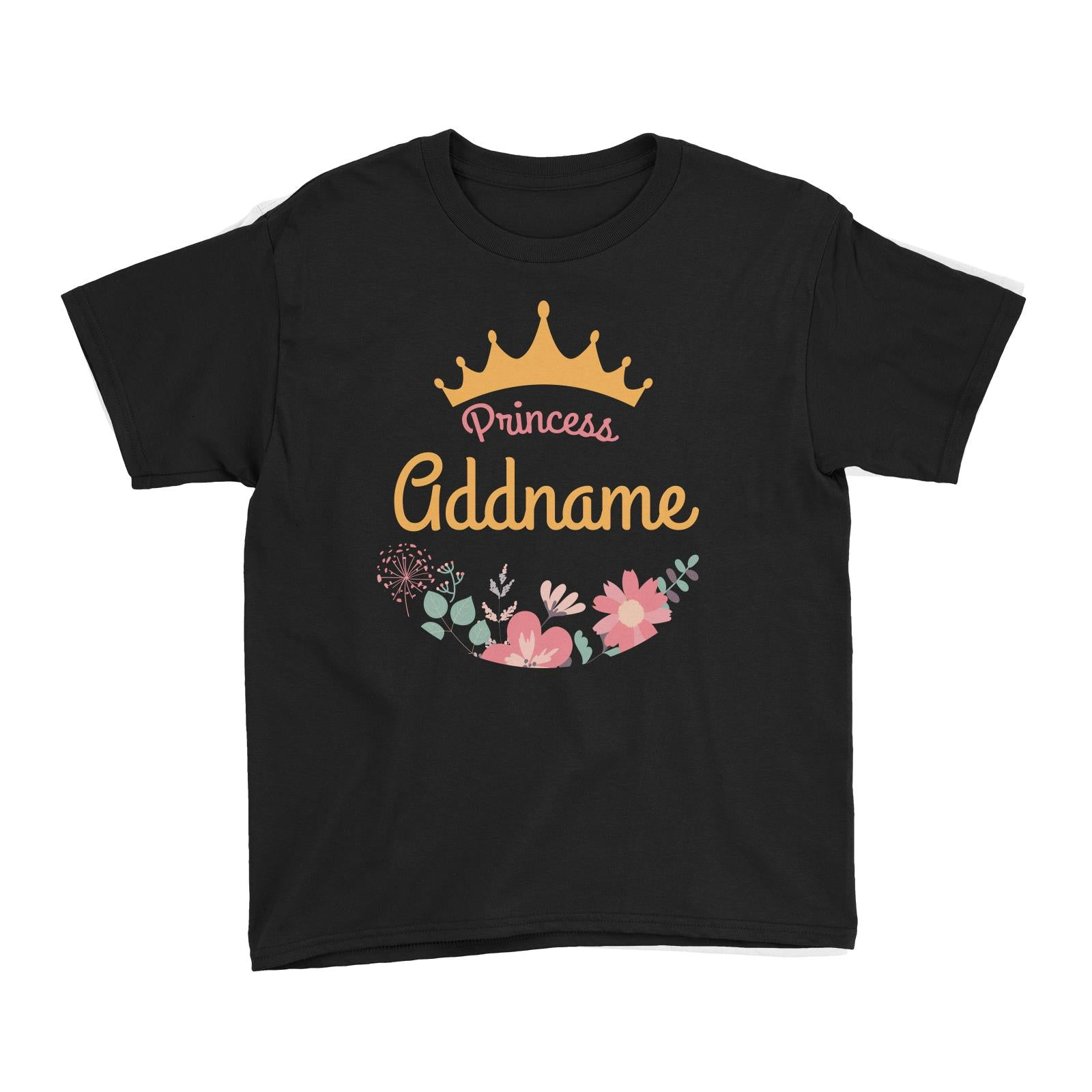 Princess Addname with Tiara and Flowers 2 Kid's T-Shirt