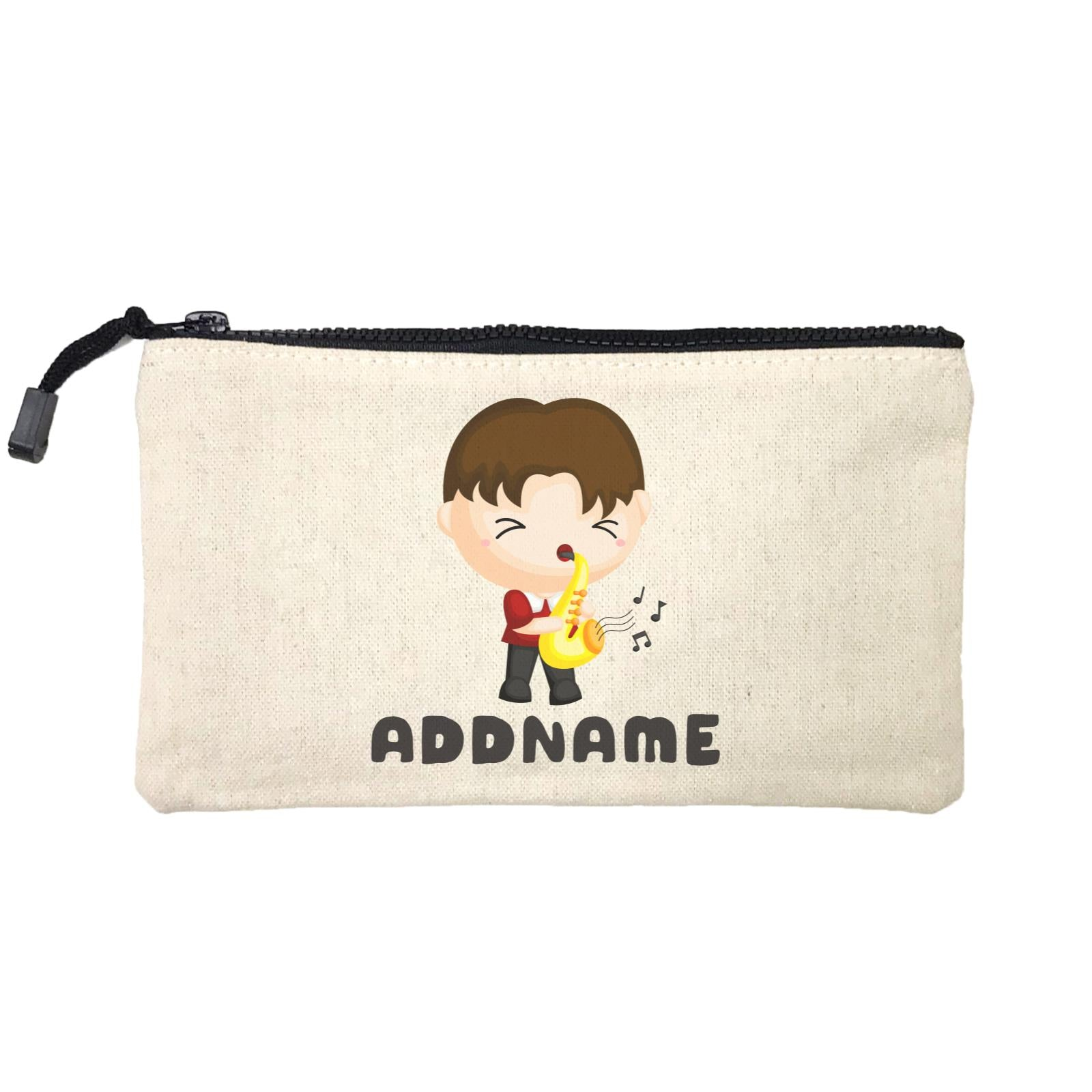 Birthday Music Band Boy Playing Saxophone Addname Mini Accessories Stationery Pouch