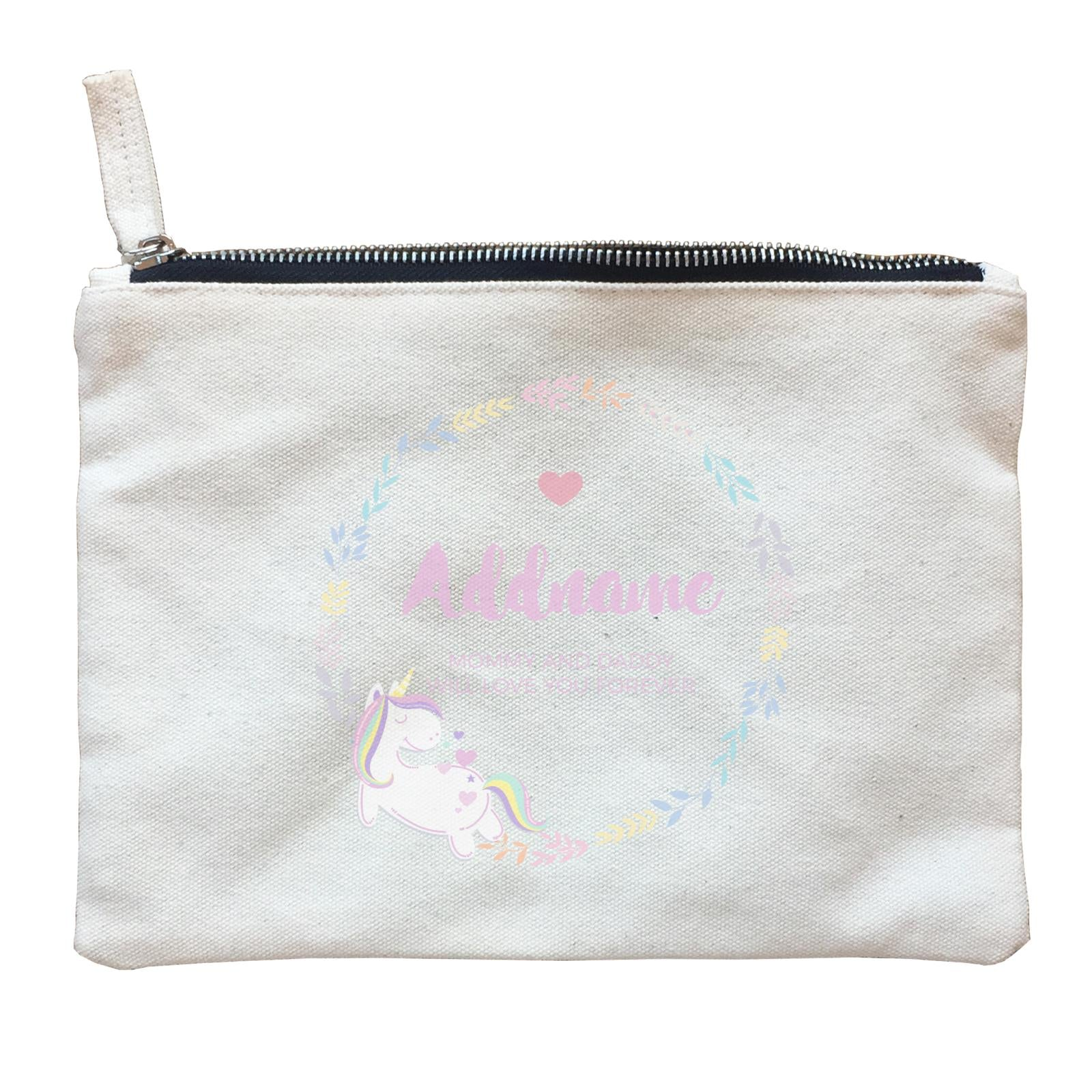 Pastel Colours Leaf Wreath with Unicorn Personalizable with Name and Text Zipper Pouch
