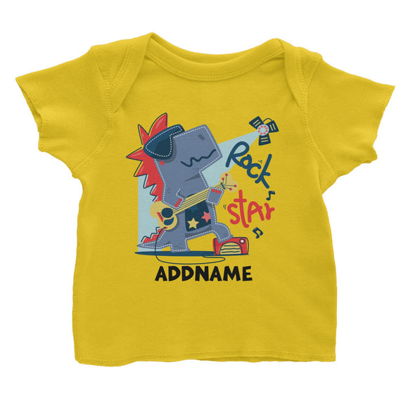 Rock Star Dinosaur with Guitar Addname Baby T-Shirt