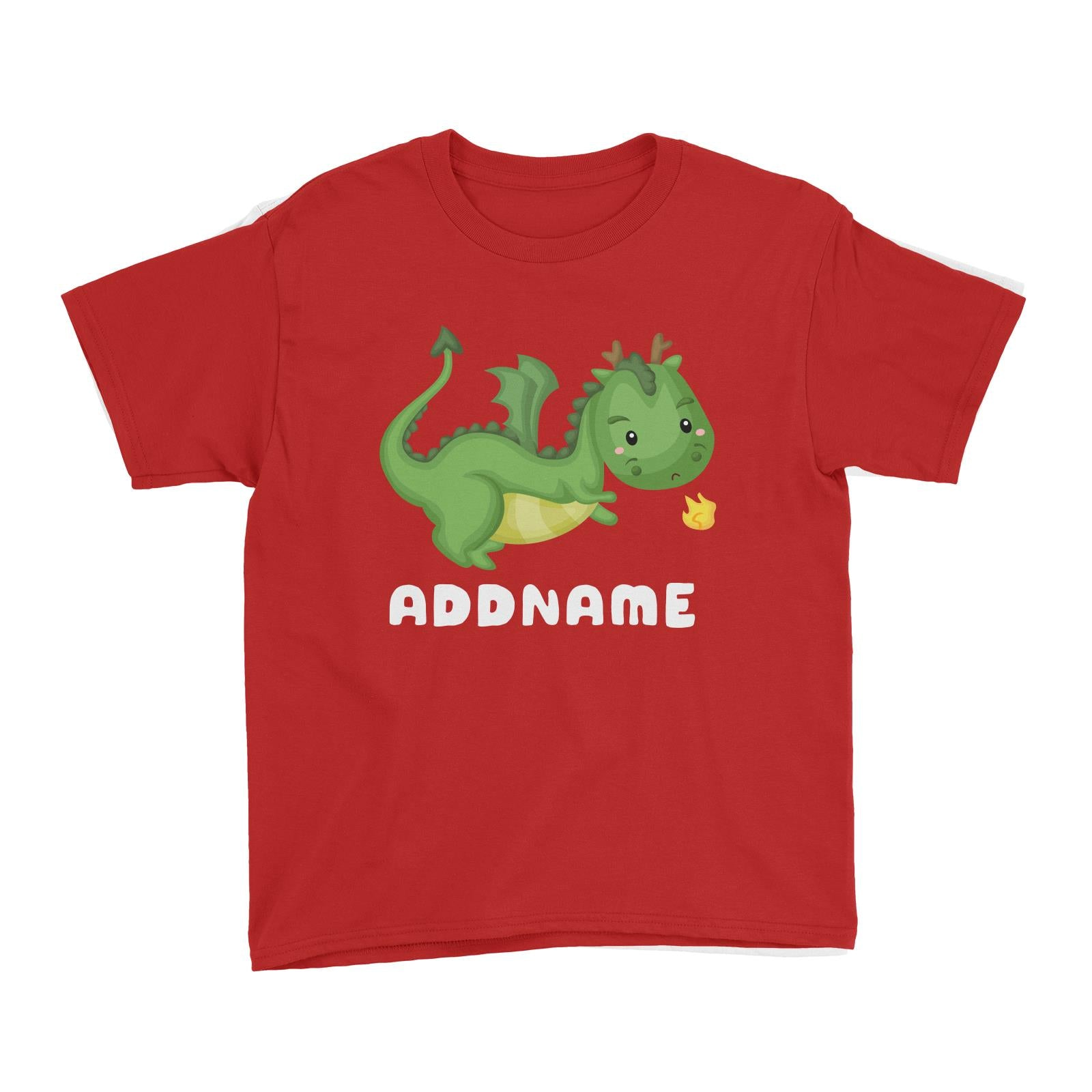 Birthday Royal Dragon Breathing Fire Addname Kid's T-Shirt