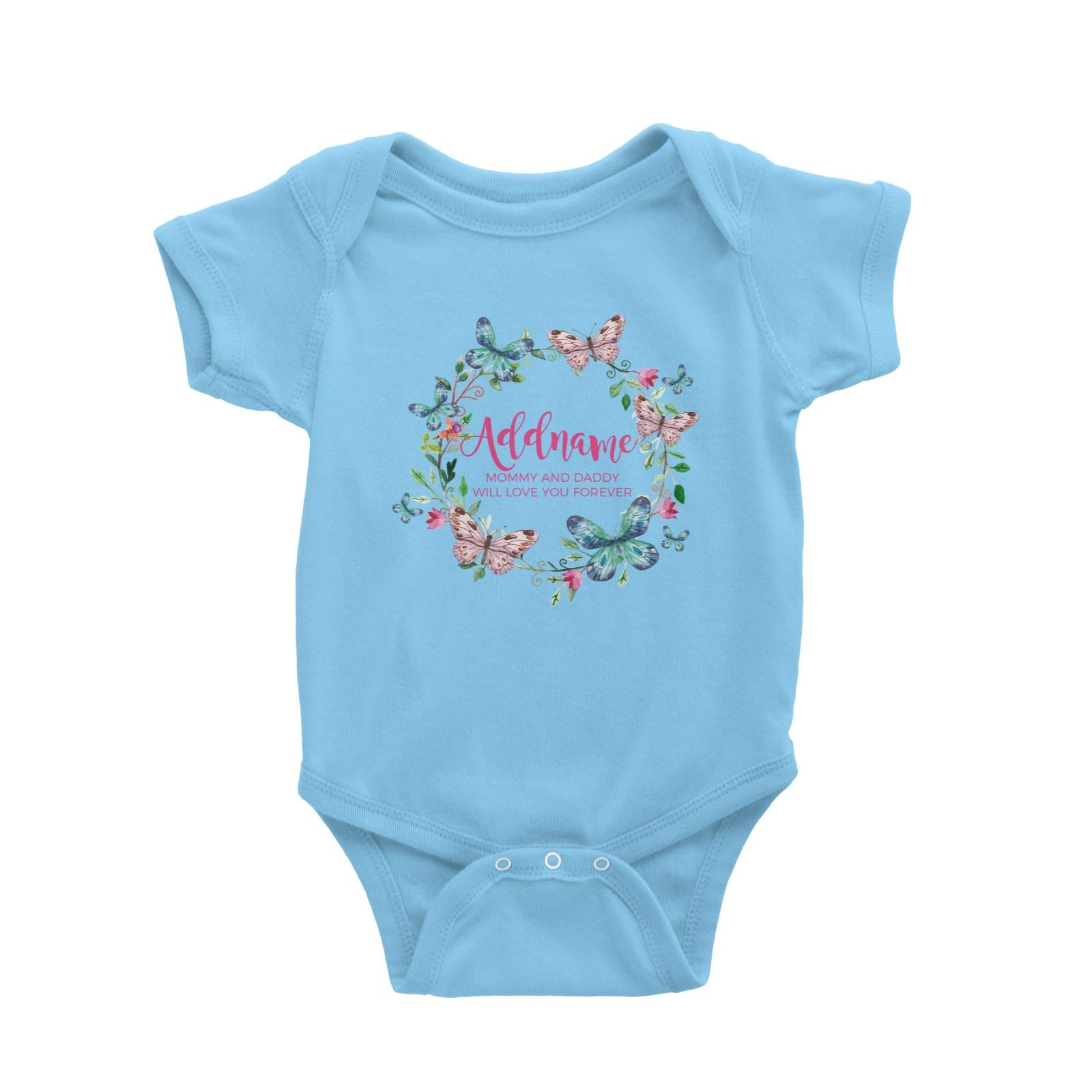 Colourful Butterflies Wreath Personalizable with Name and Text Baby Romper