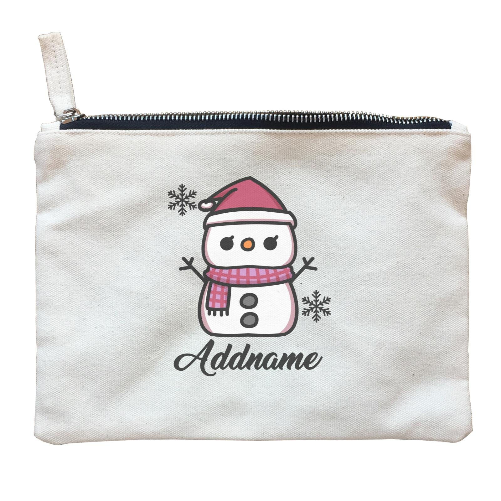 Xmas Little Girl Snowman Zipper Pouch