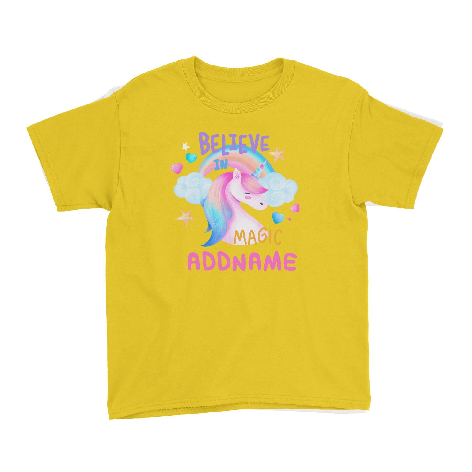 Children's Day Gift Series Believe In Magic Unicorn Addname Kid's T-Shirt