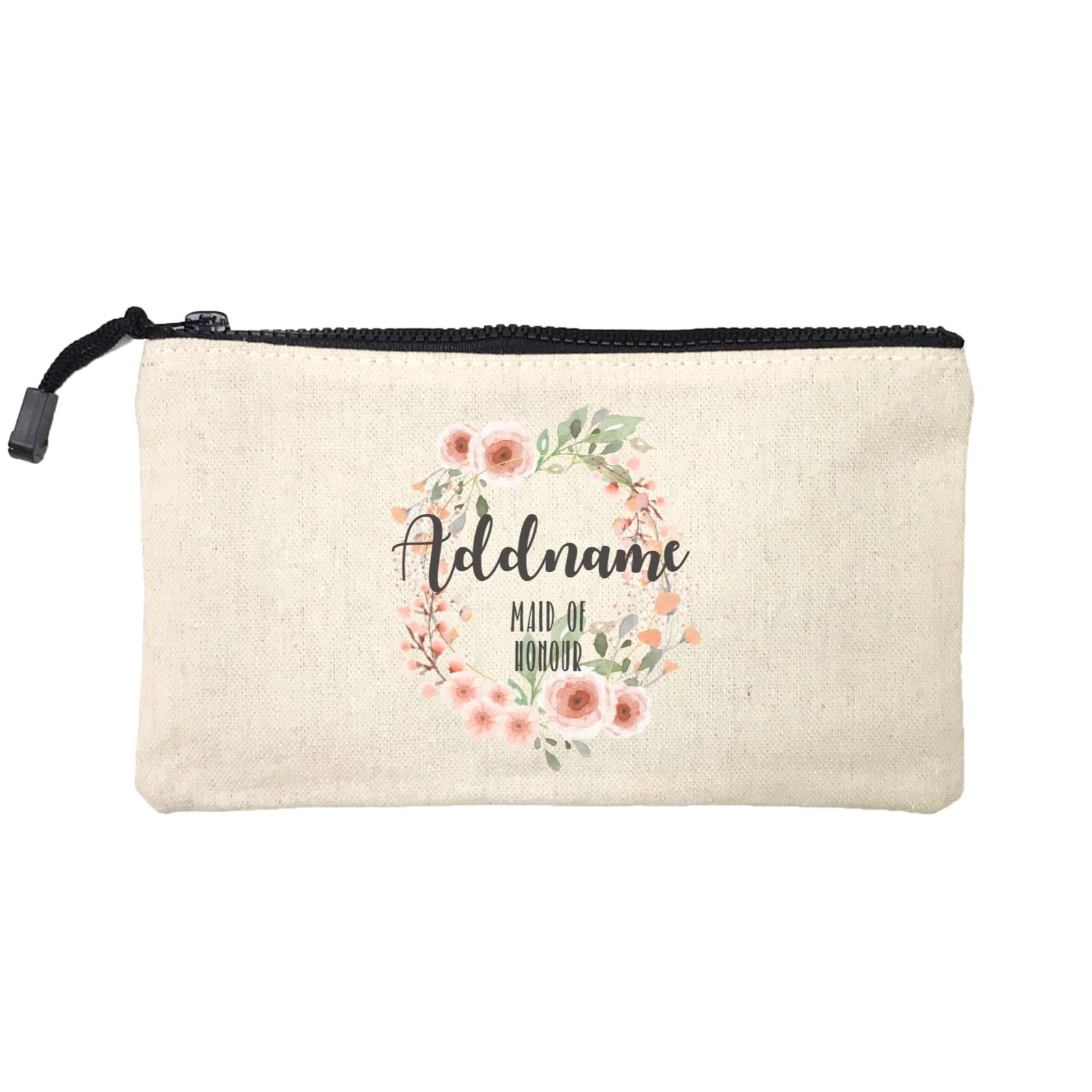 Bridesmaid Floral Sweet 2 Watercolour Flower Wreath Maid Of Honour Addname Mini Accessories Stationery Pouch