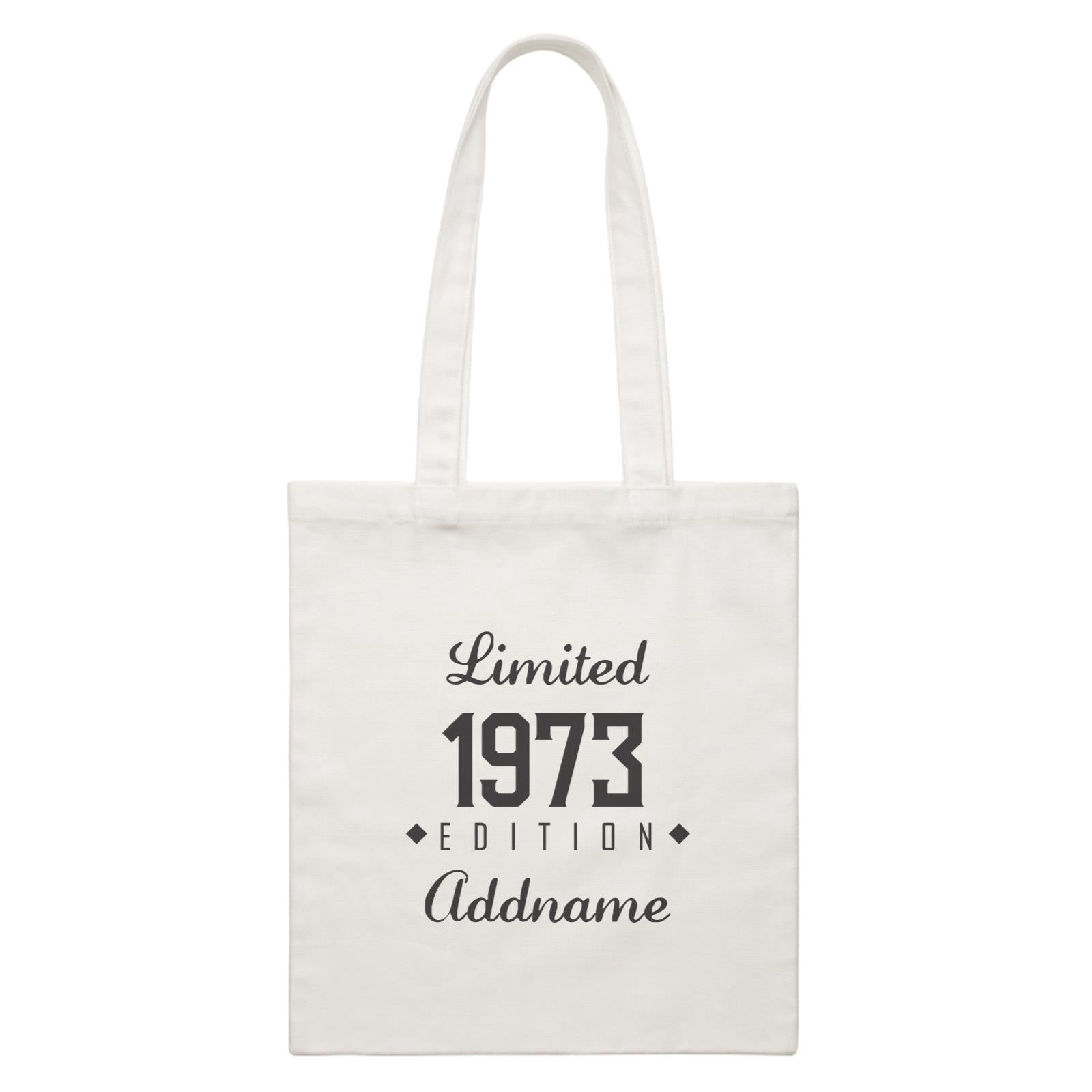 Personalize It Birthyear Limited Edition Diamond with Addname and Add Year White White Canvas Bag