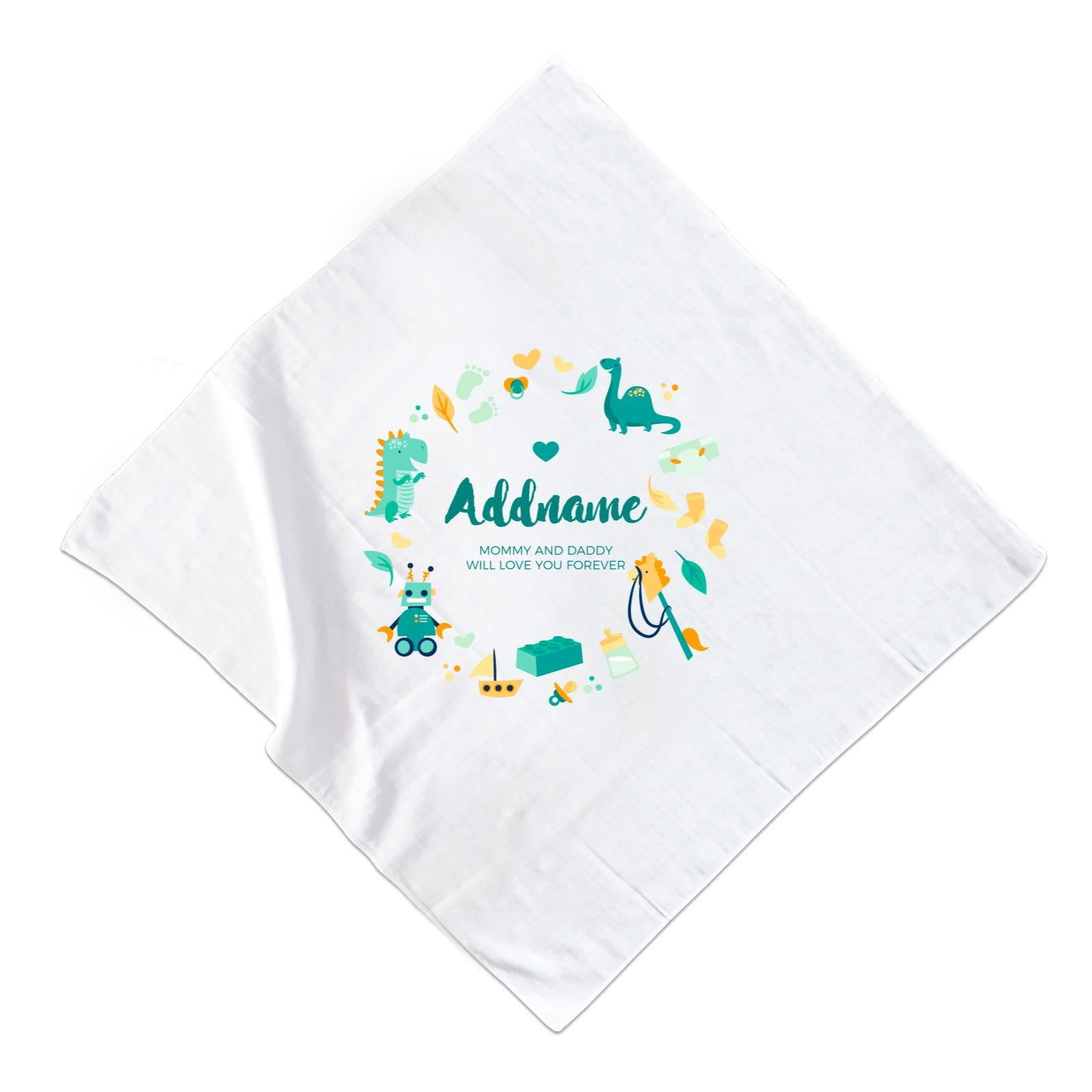Cute Dinosaurs and Toys Elements Personalizable with Name and Text Muslin Square