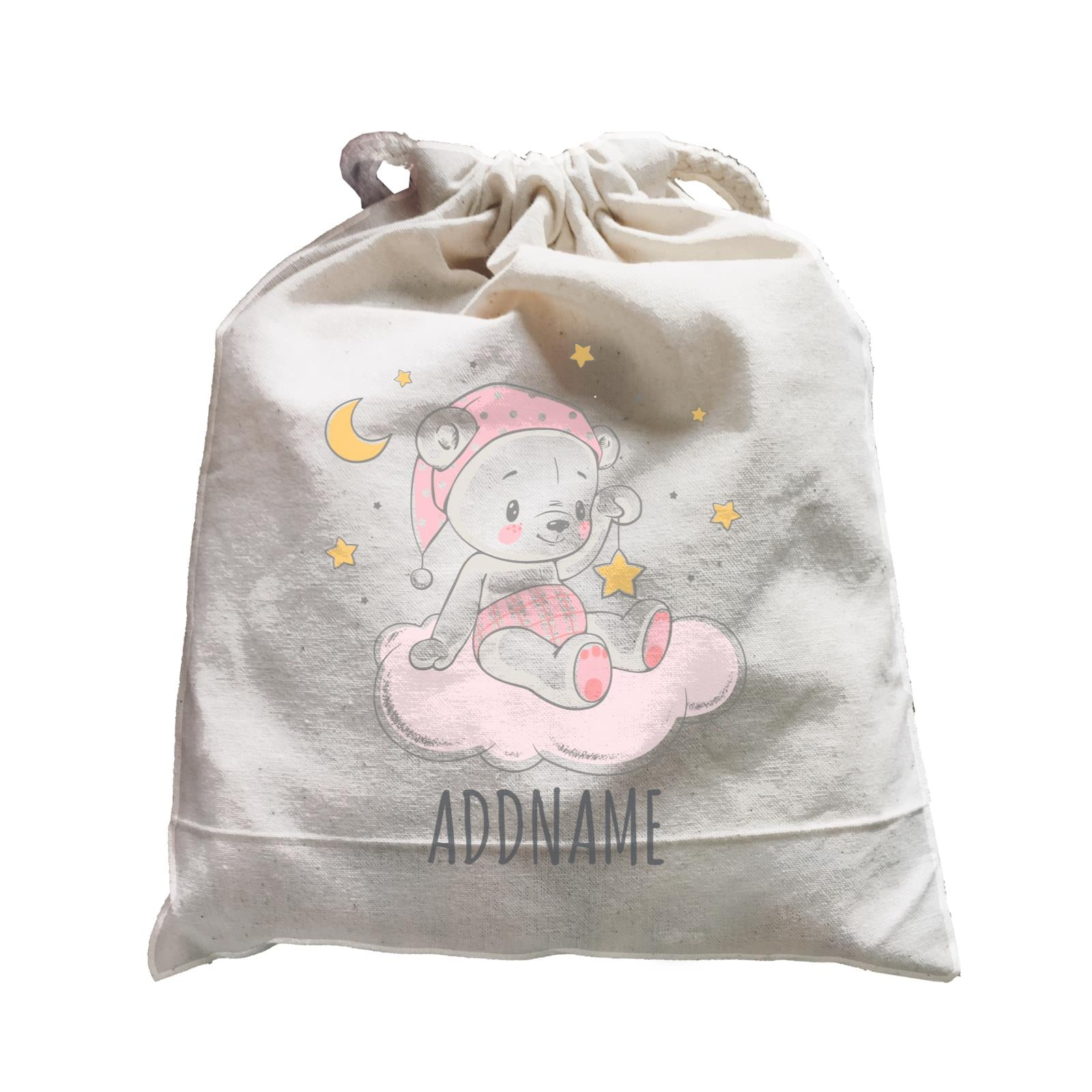 Night Girl Bear Sitting on Cloud Satchel Personalizable Designs Cute Sweet Animal For Girls Pinky Newborn HG