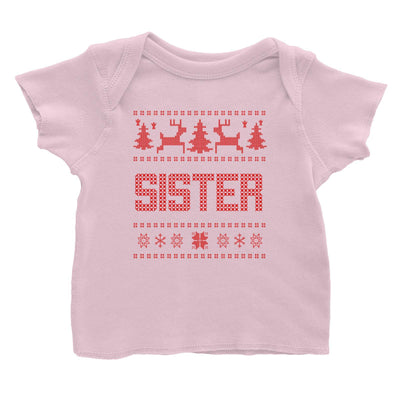 Christmas Sweater Sister Baby T-Shirt  Matching Family