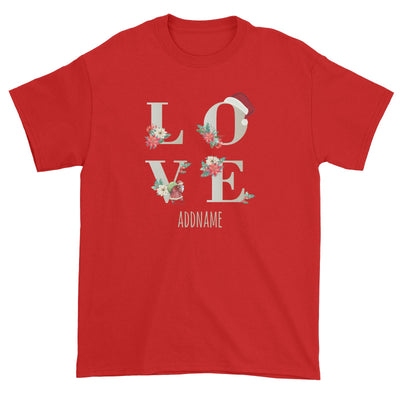 LOVE with Christmas Elements Addname Unisex T-Shirt  Matching Family Personalizable Designs