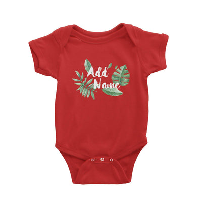 Tropical Leaves Addname Baby Romper Basic Matching Family