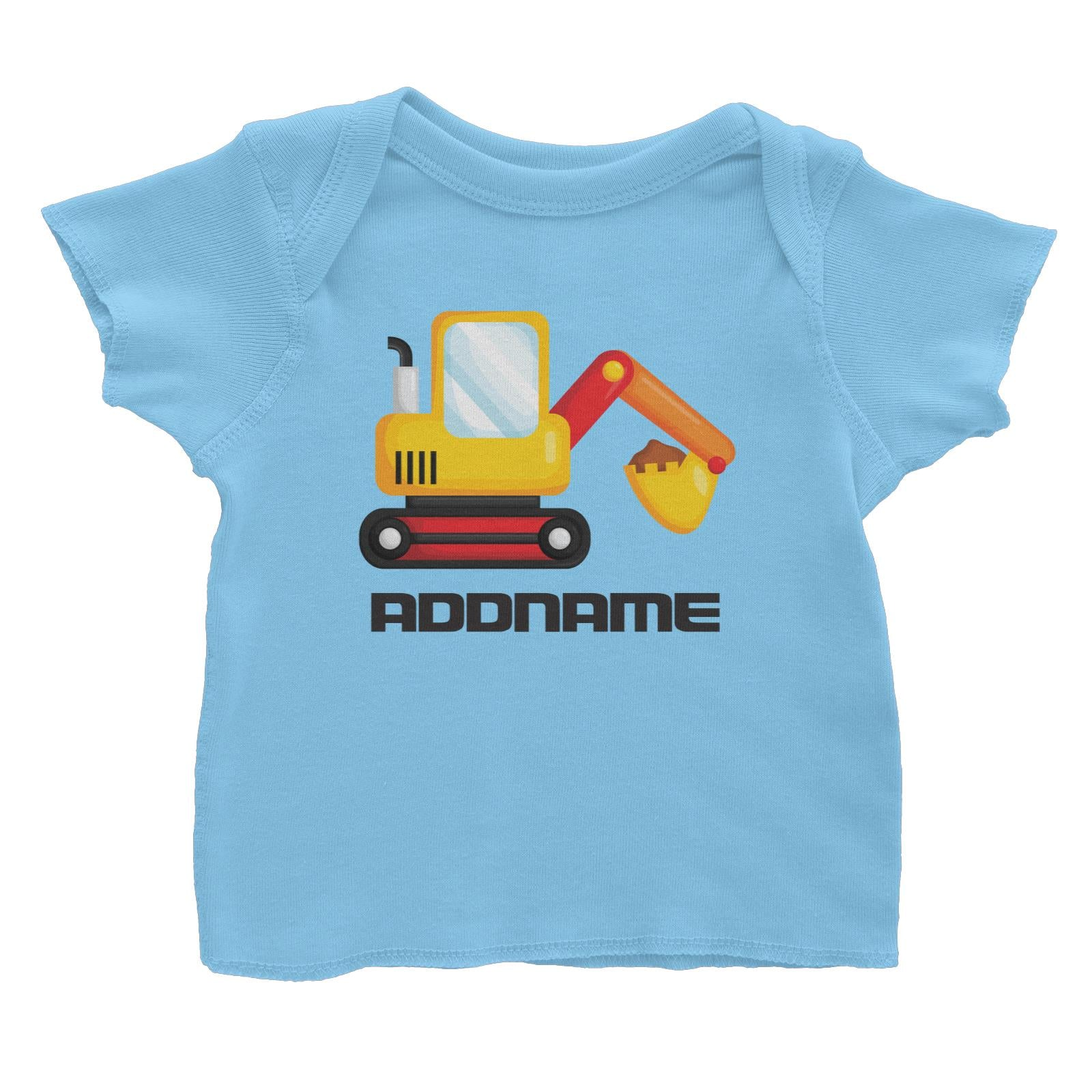 Birthday Construction Excavator Addname Baby T-Shirt