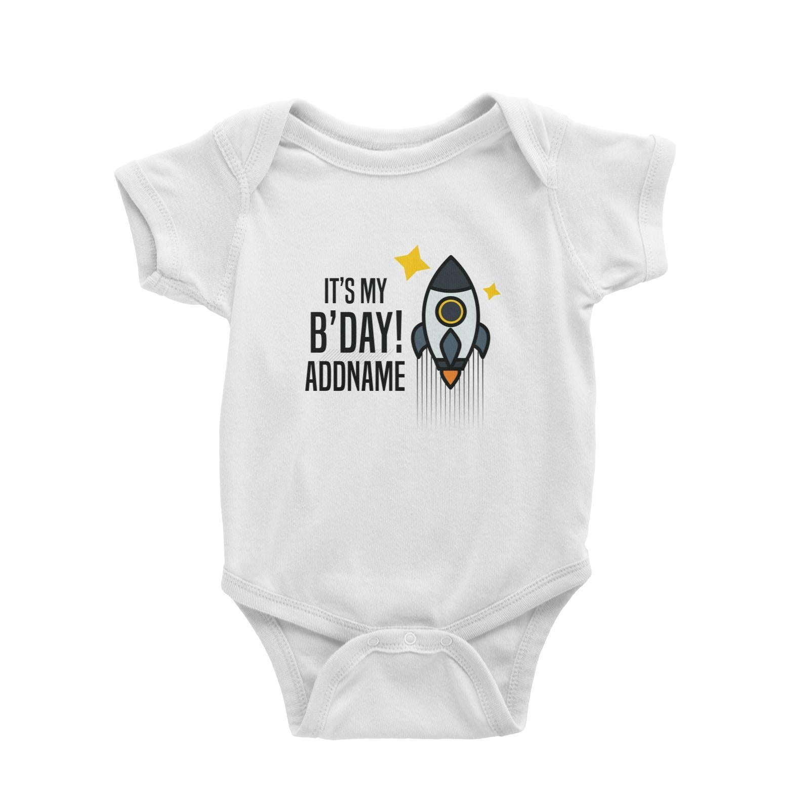 Birthday Flying Rocket To Galaxy It's My B'day Addname Baby Romper