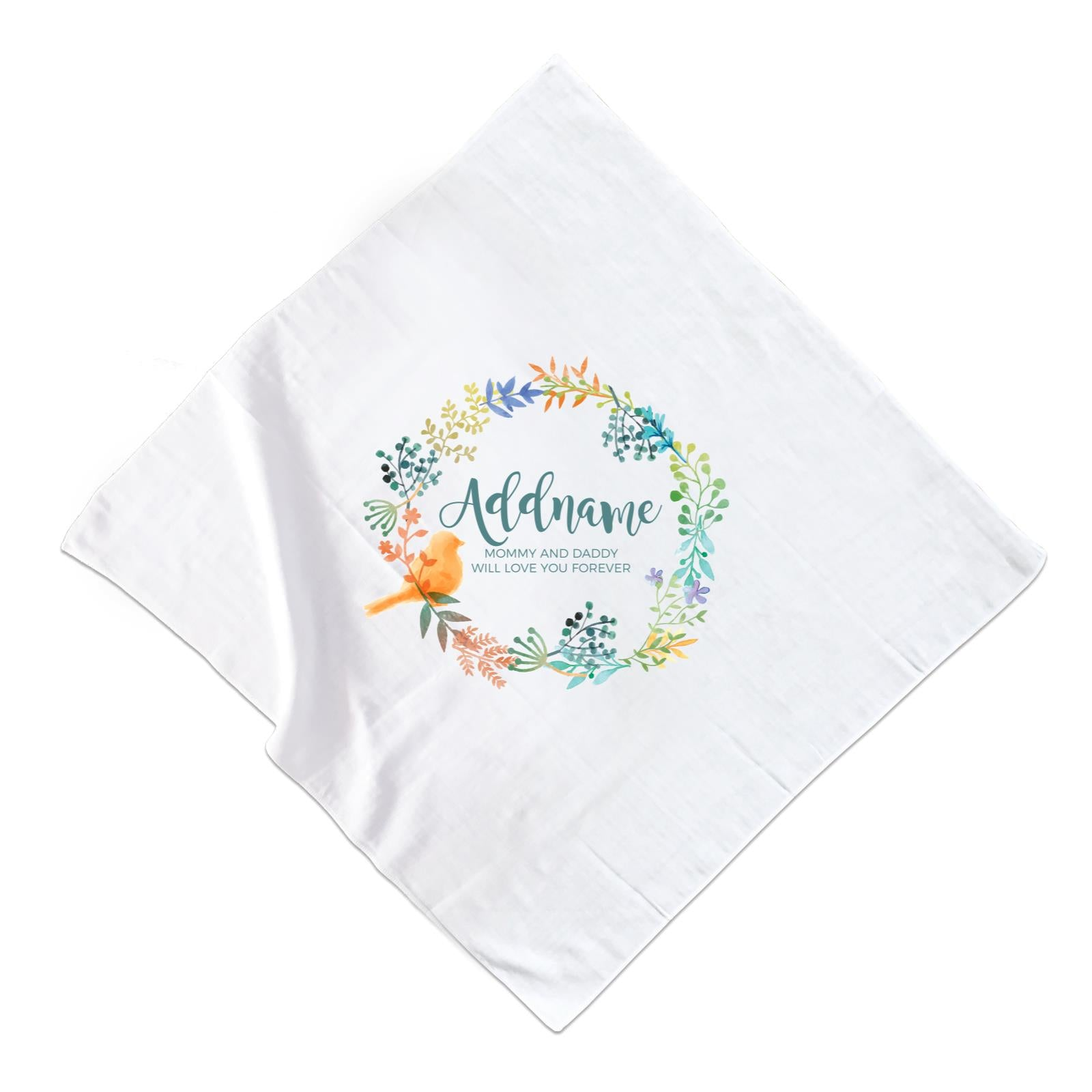 Spring Flower with Bird Wreath Personalizable with Name and Text Muslin Square