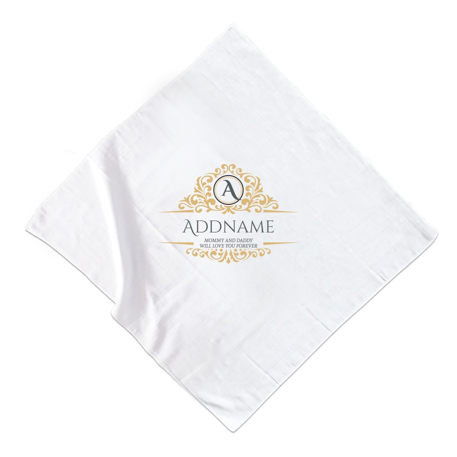 Royal Emblem Personalizable with Initial Name and Text Muslin Square