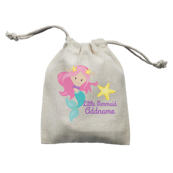 Little Mermaid Celebrating with Starfish Addname Mini Accessories Mini Pouch