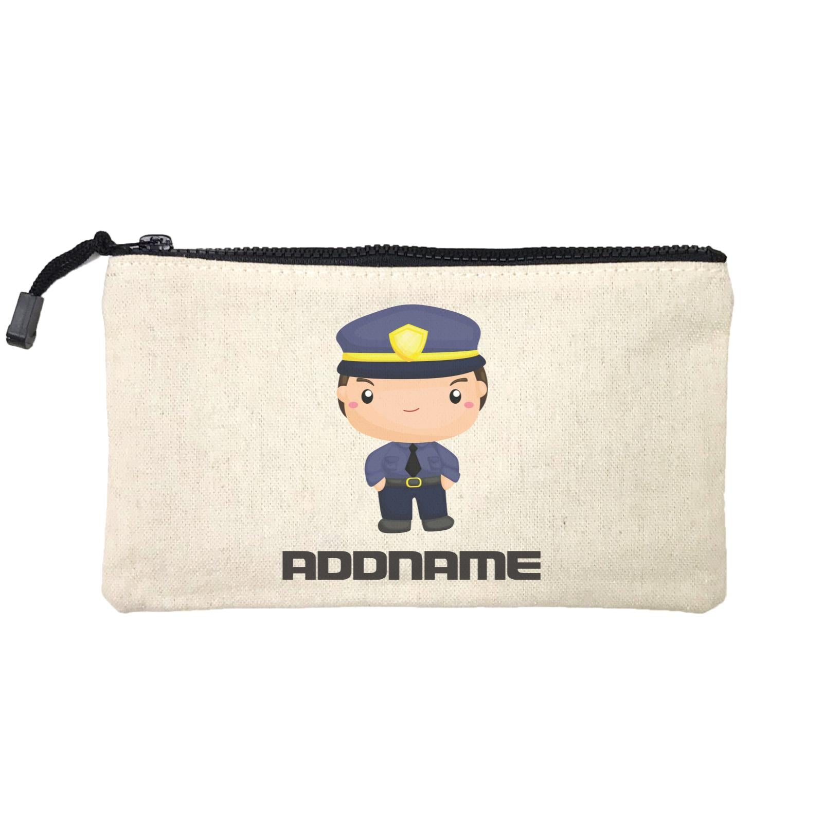 Birthday Police Officer Serious Boy In Suit Addname Mini Accessories Stationery Pouch
