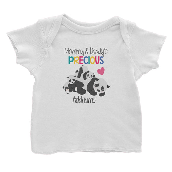 Animal & Loved Ones Mommy & Daddy's Precious Panda Family Addname Baby T-Shirt