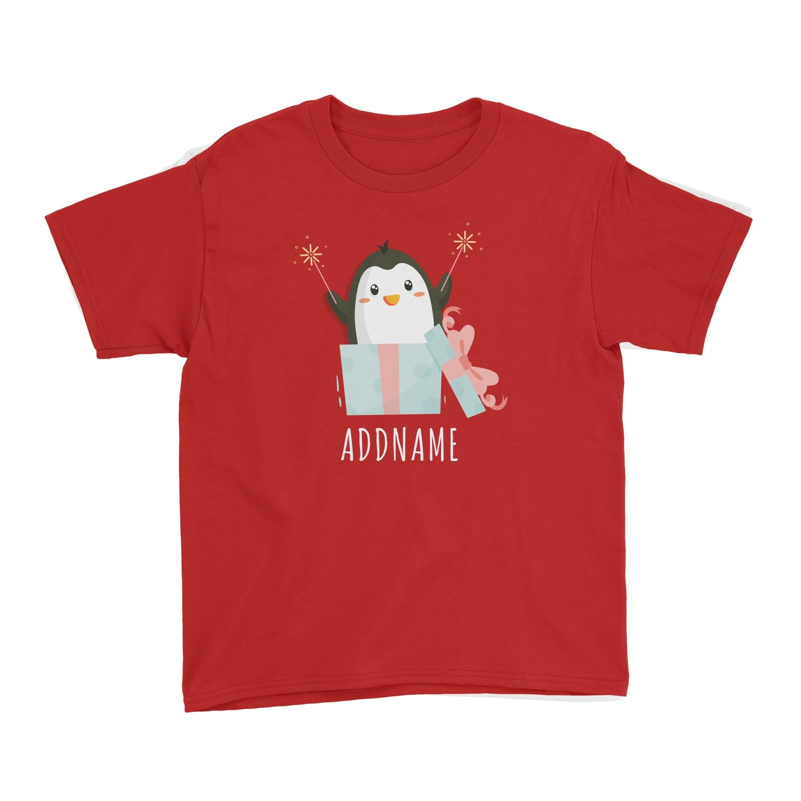 Birthday Cute Penguin Taking Fireworks In Present Box Addname Kid's T-Shirt