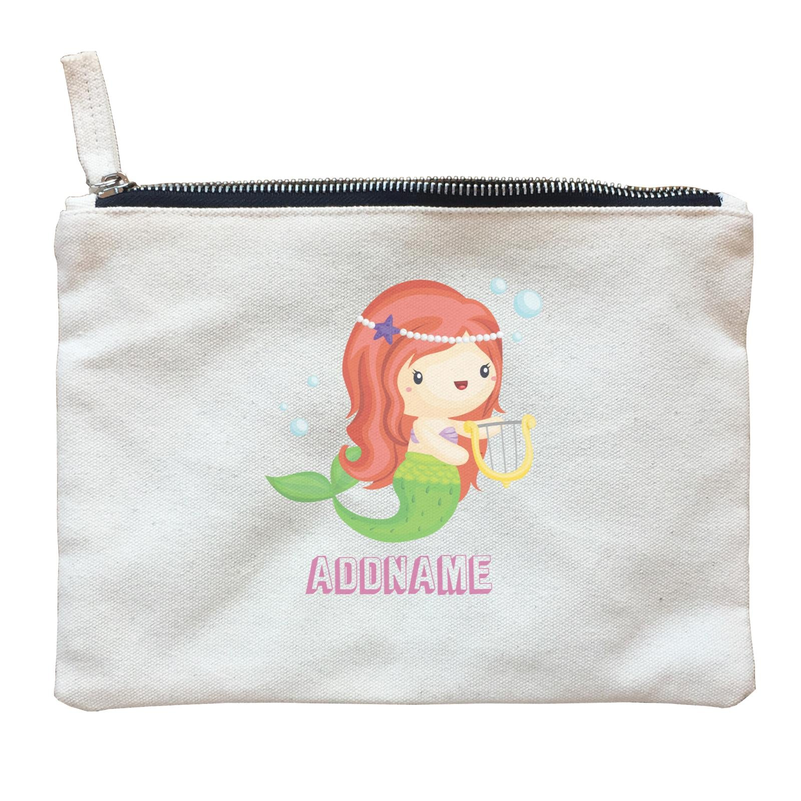 Birthday Mermaid Red Long Hair Mermaid Playing Harp Addname Zipper Pouch