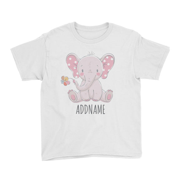 Sitting Girl Elephant with Flower White Kid's T-Shirt Personalizable Designs Cute Sweet Animal For Girls Pinky Newborn HG