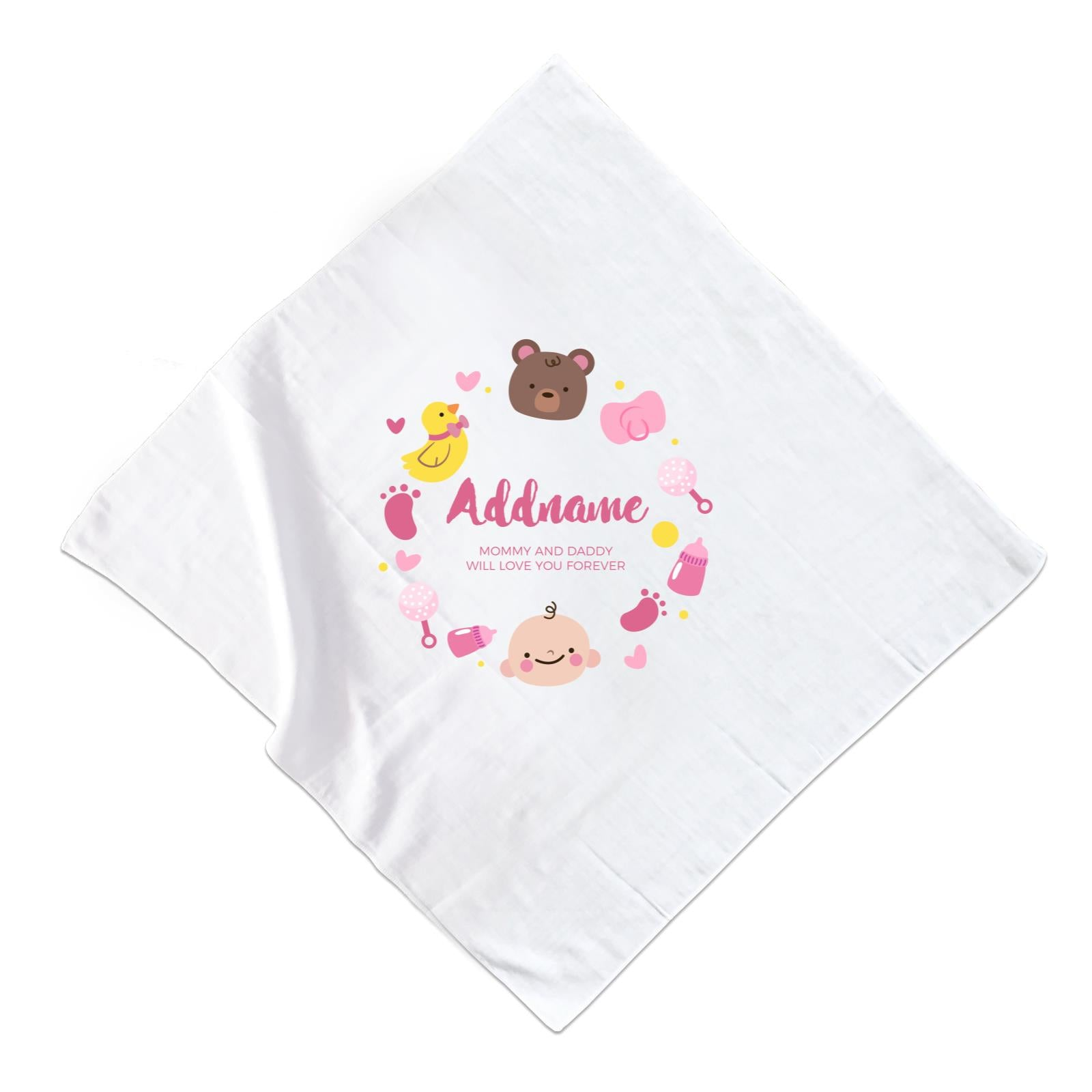 Cute Baby Girl Elements Personalizable with Name and Text Muslin Square