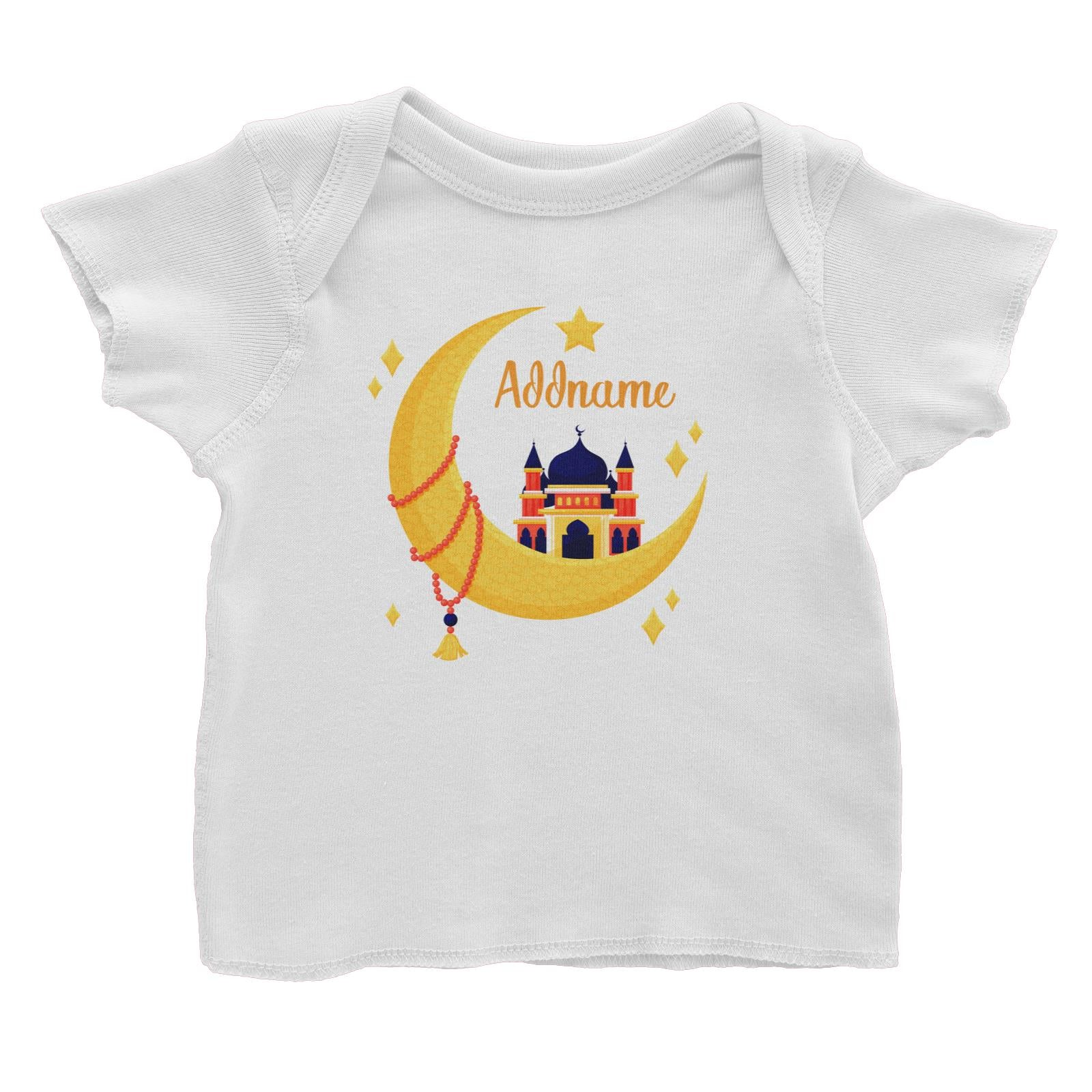 Raya Moon Islamic Moon Star And Mosque Addname Baby T-Shirt