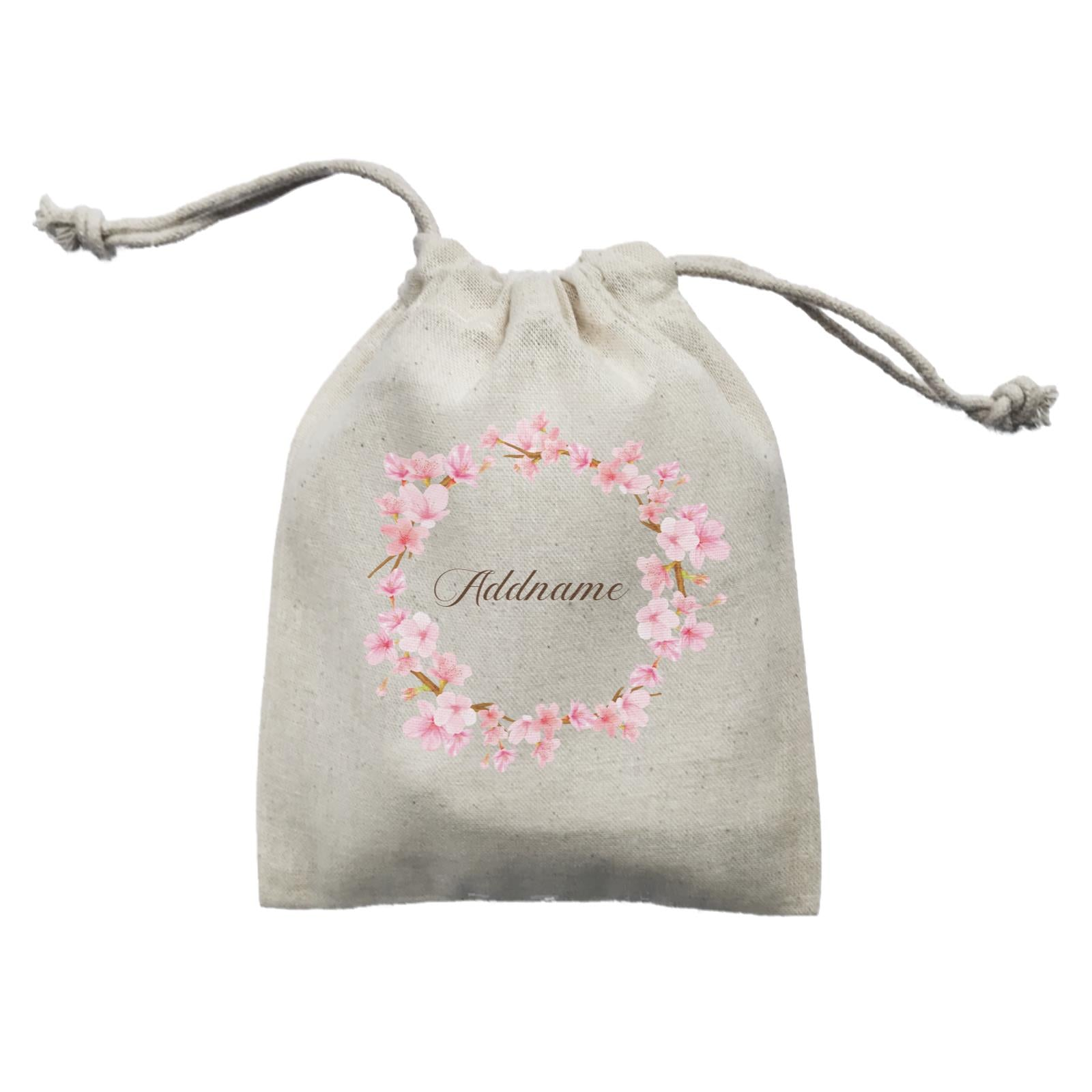Pink Flower Frame Personalisable with Name and Text Mini Accessories Mini Pouch