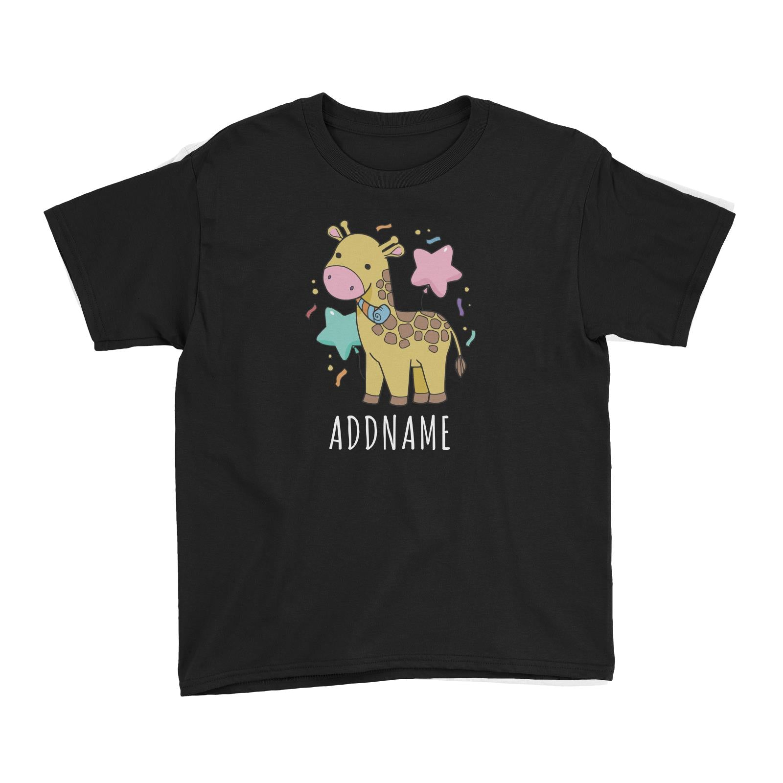 Birthday Sketch Animals Giraffe with Party Horn Addname Kid's T-Shirt