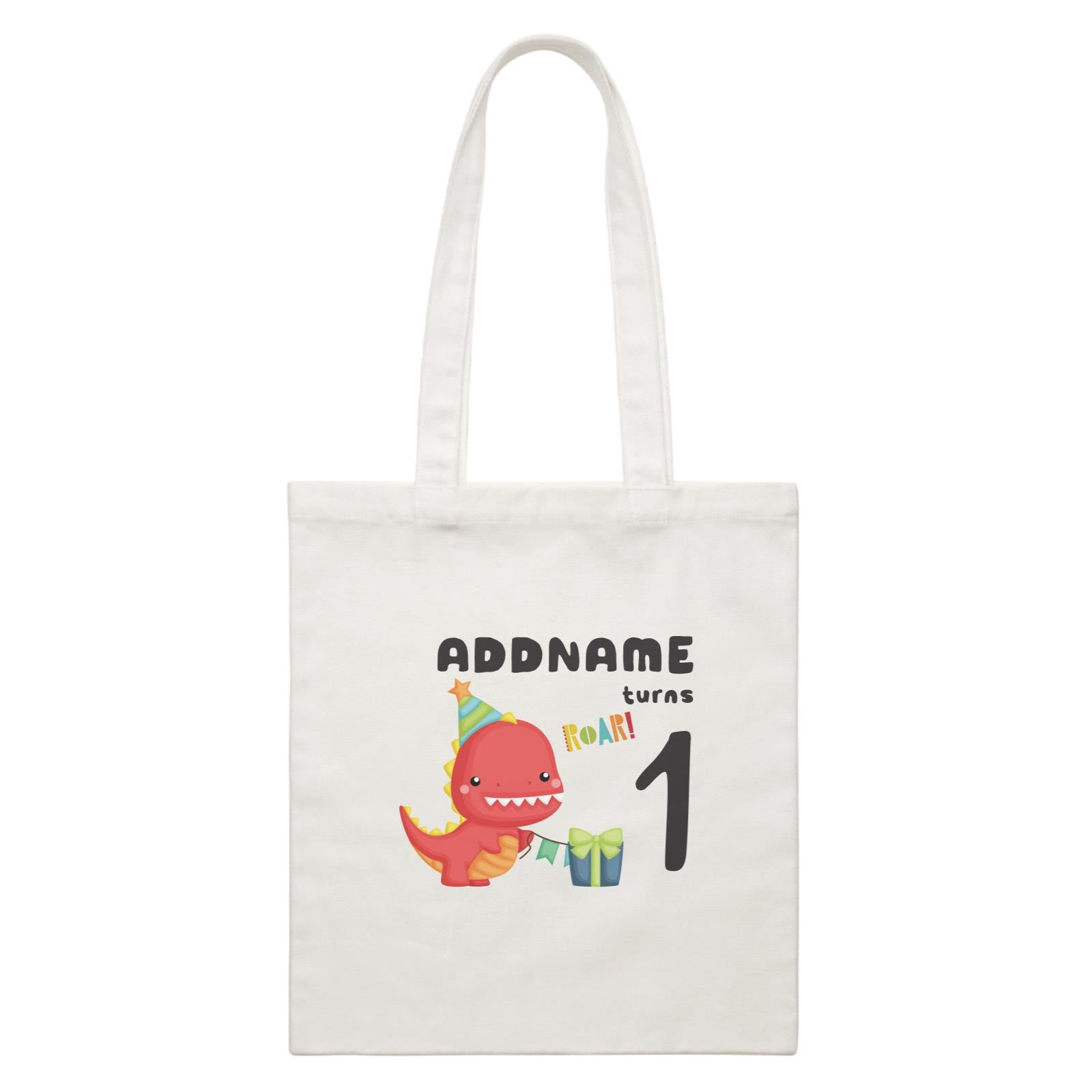 Birthday Dinosaur Happy Red Rex Wearing Party Hat Addname Turns 1 White Canvas Bag