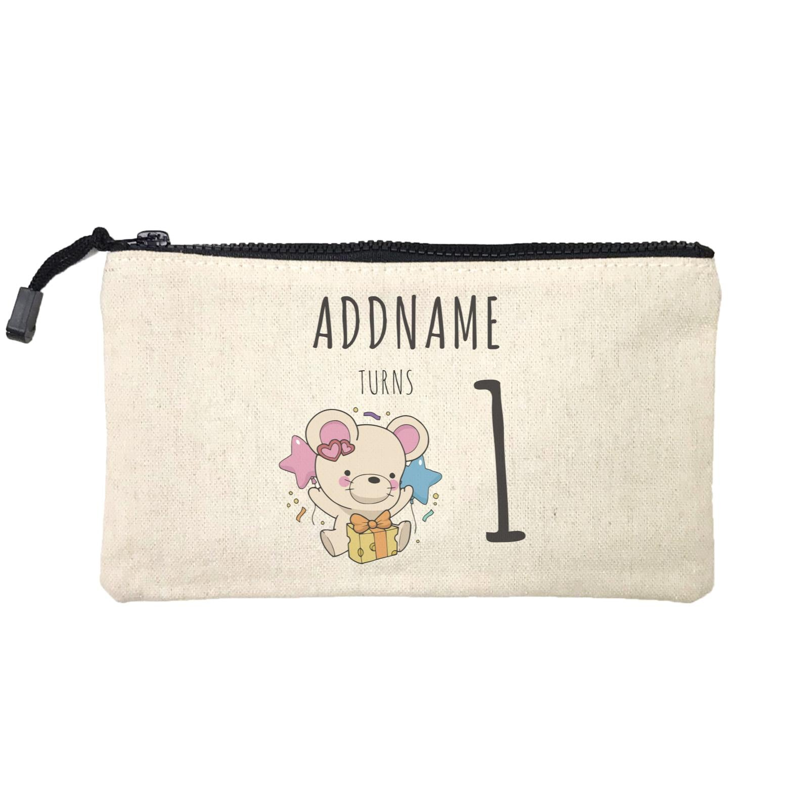 Birthday Sketch Animals Mouse with Cheese Present Addname Turns 1 Mini Accessories Stationery Pouch