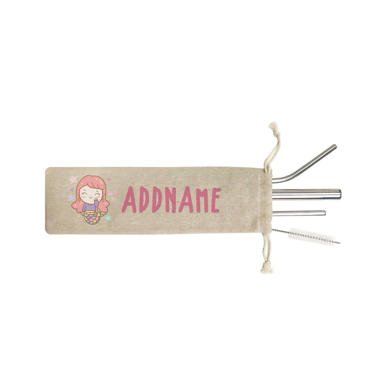Unicorn And Princess Series Cute Happy Waving Mermaid Girl Addname SB 4-In-1 Stainless Steel Straw Set in Satchel