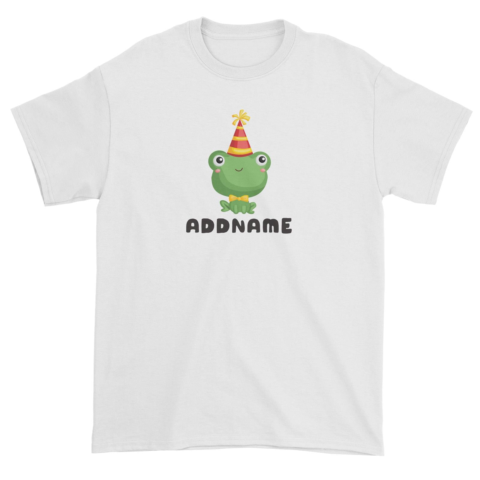 Birthday Frog Frog Wearing Party Hat Addname Unisex T-Shirt