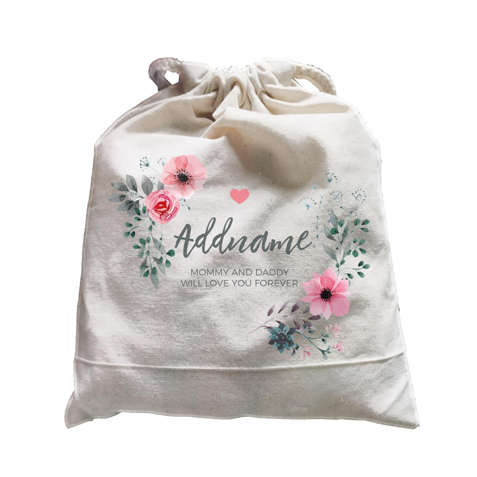 Watercolour Pink Flowers and Dark Wreath Personalizable with Name and Text Satchel