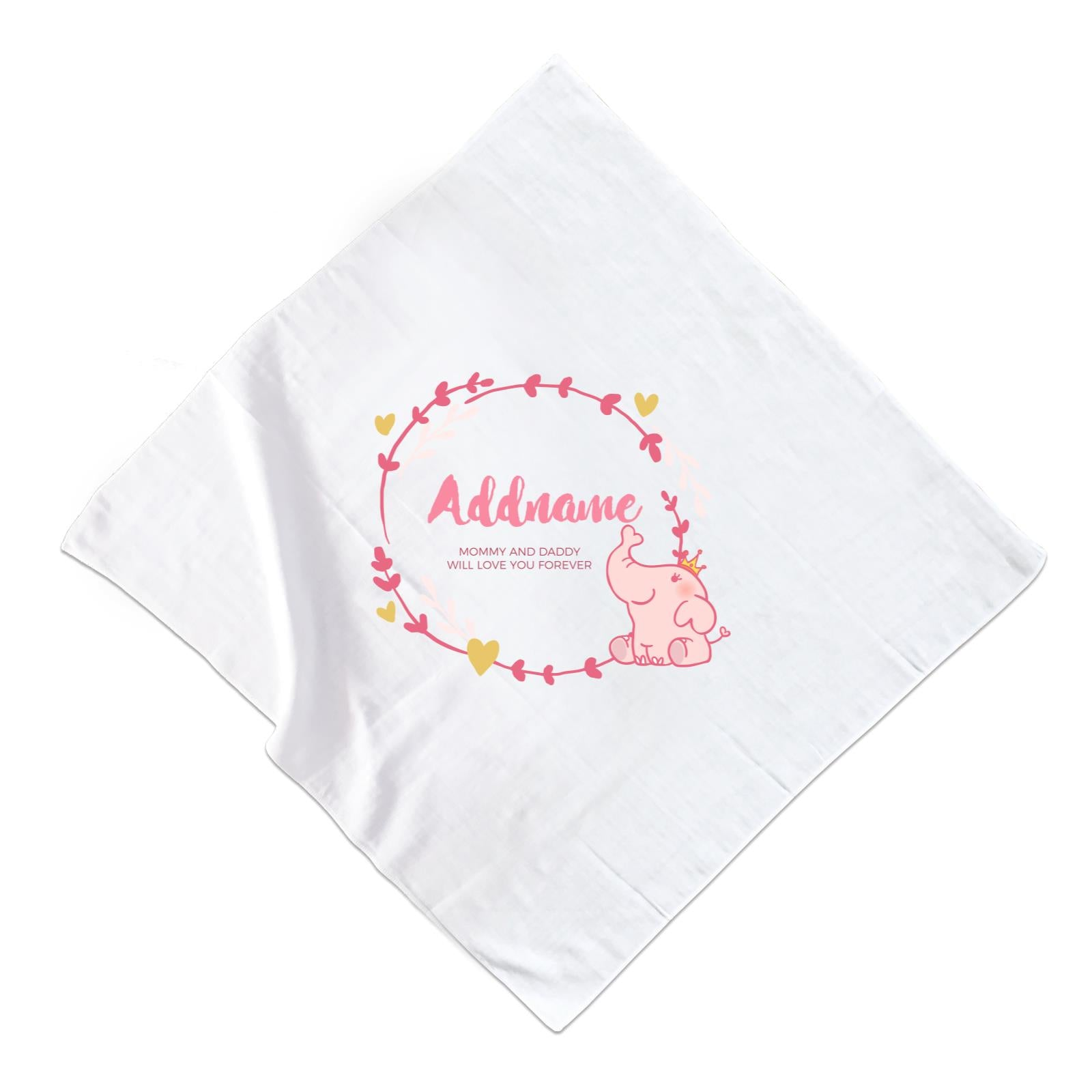 Cute Pink Elephant Princess Personalizable with Name and Text Muslin Square