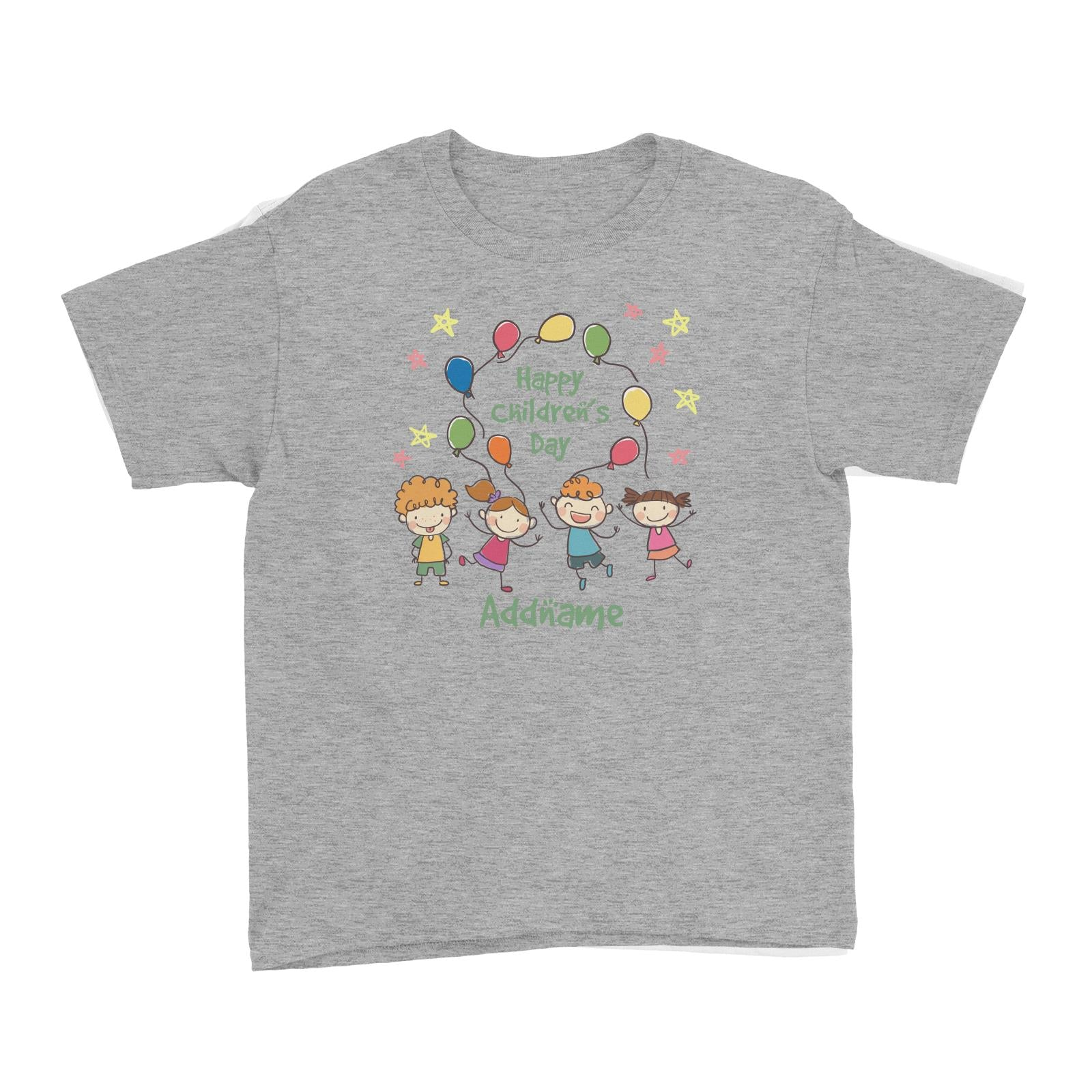 Children's Day Gift Series Four Cute Children With Balloons Addname Kid's T-Shirt