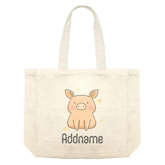 Cute Hand Drawn Style Pig Addname Shopping Bag