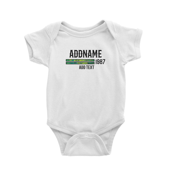 Palm Leaves Pattern Bars Personalizable with Name Number and Text Baby Romper