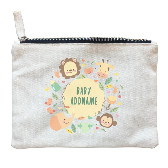 Baby Safari Animals with Addname Zipper Pouch