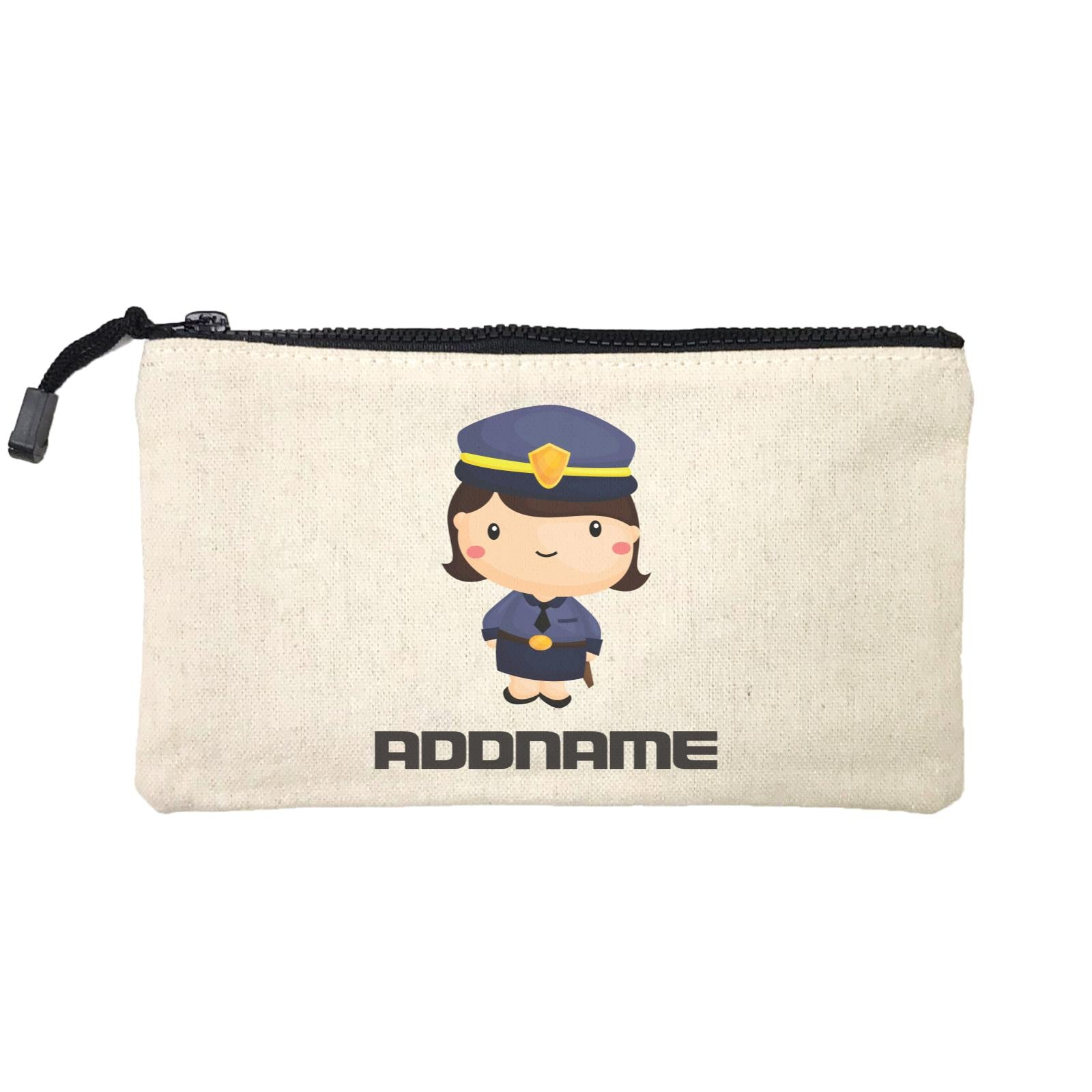 Birthday Police Officer Short Hair Girl  In Suit Addname Mini Accessories Stationery Pouch