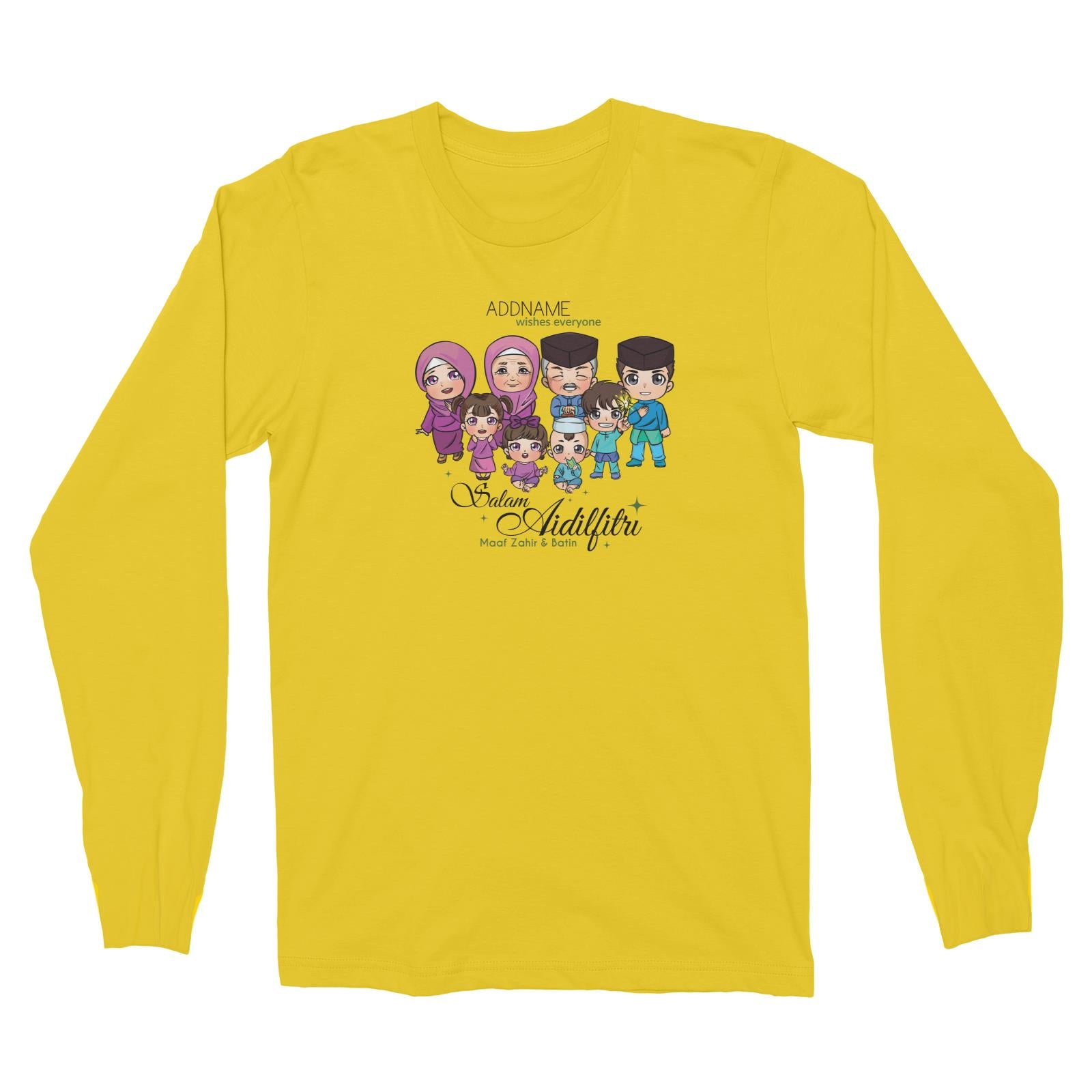 Raya Chibi Big Family Addname Wishes Everyone Salam Aidilfitri Maaf Zahir & Batin Long Sleeve Unisex T-Shirt
