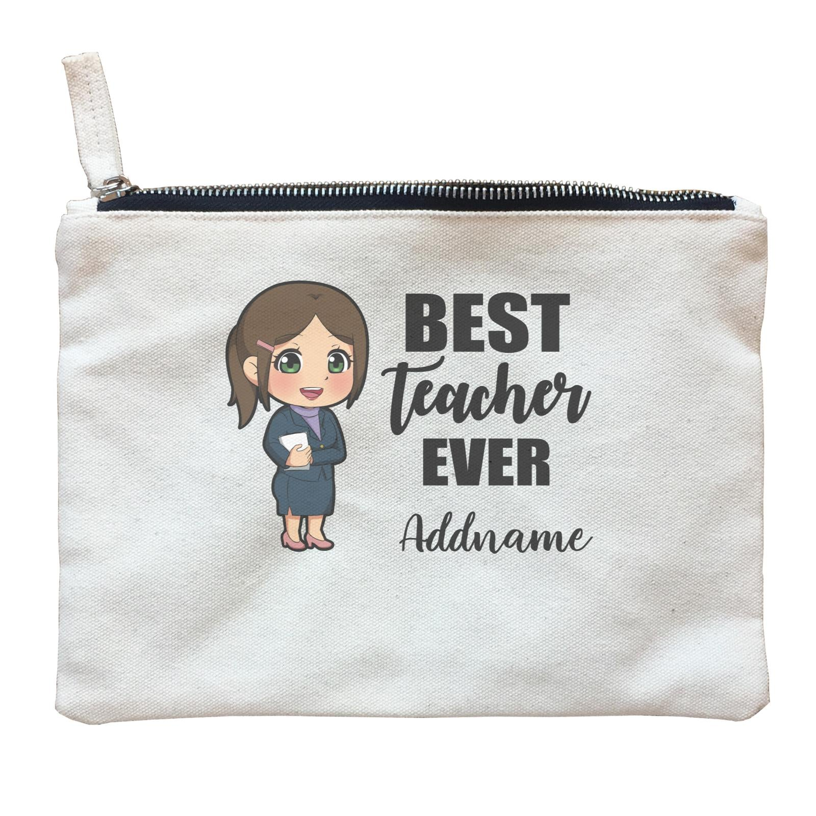 Chibi Teachers Chinese Woman Best Teacher Ever Addname Zipper Pouch