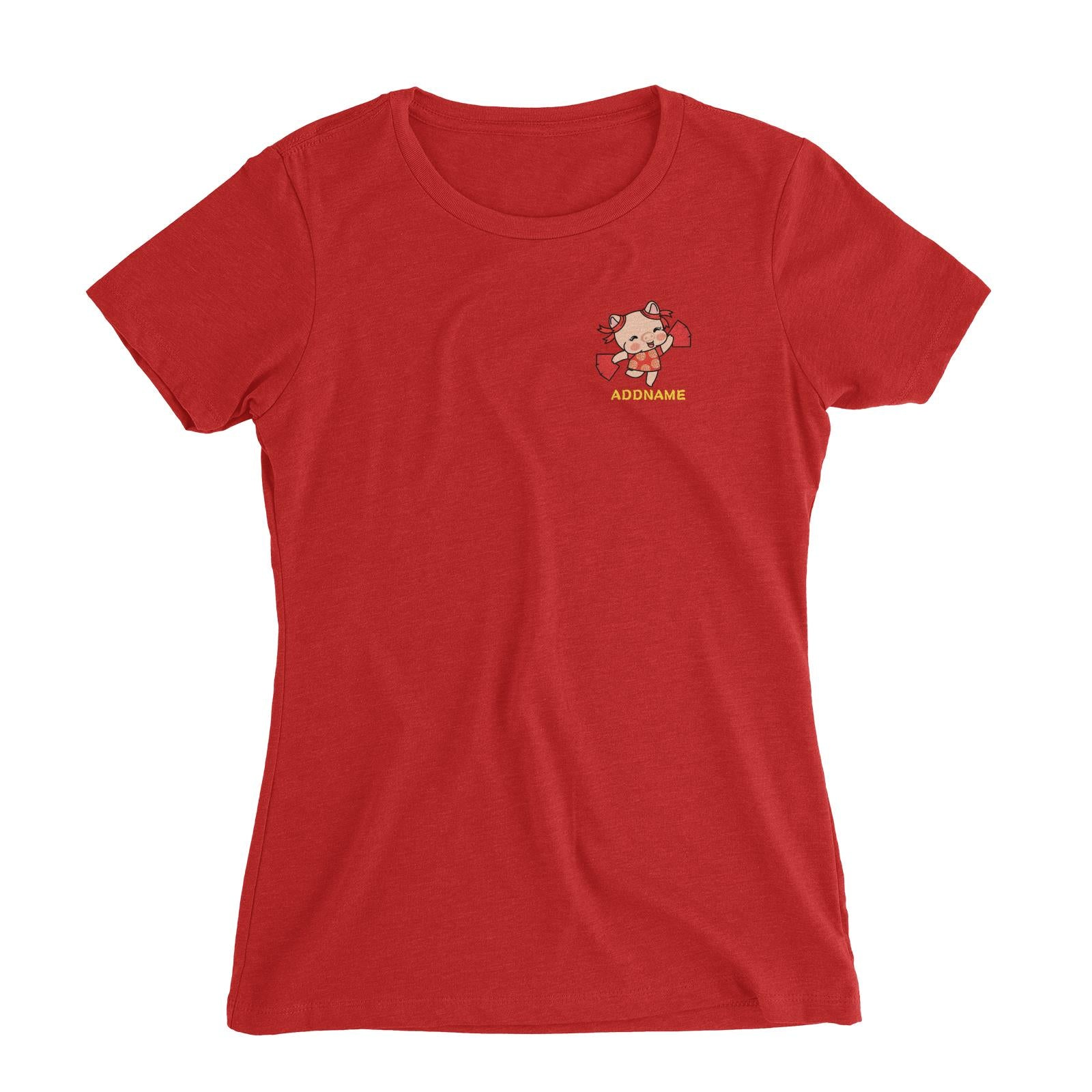 Properity Pig Girl with Red Packets Pocket Design Women Slim Fit T-Shirt