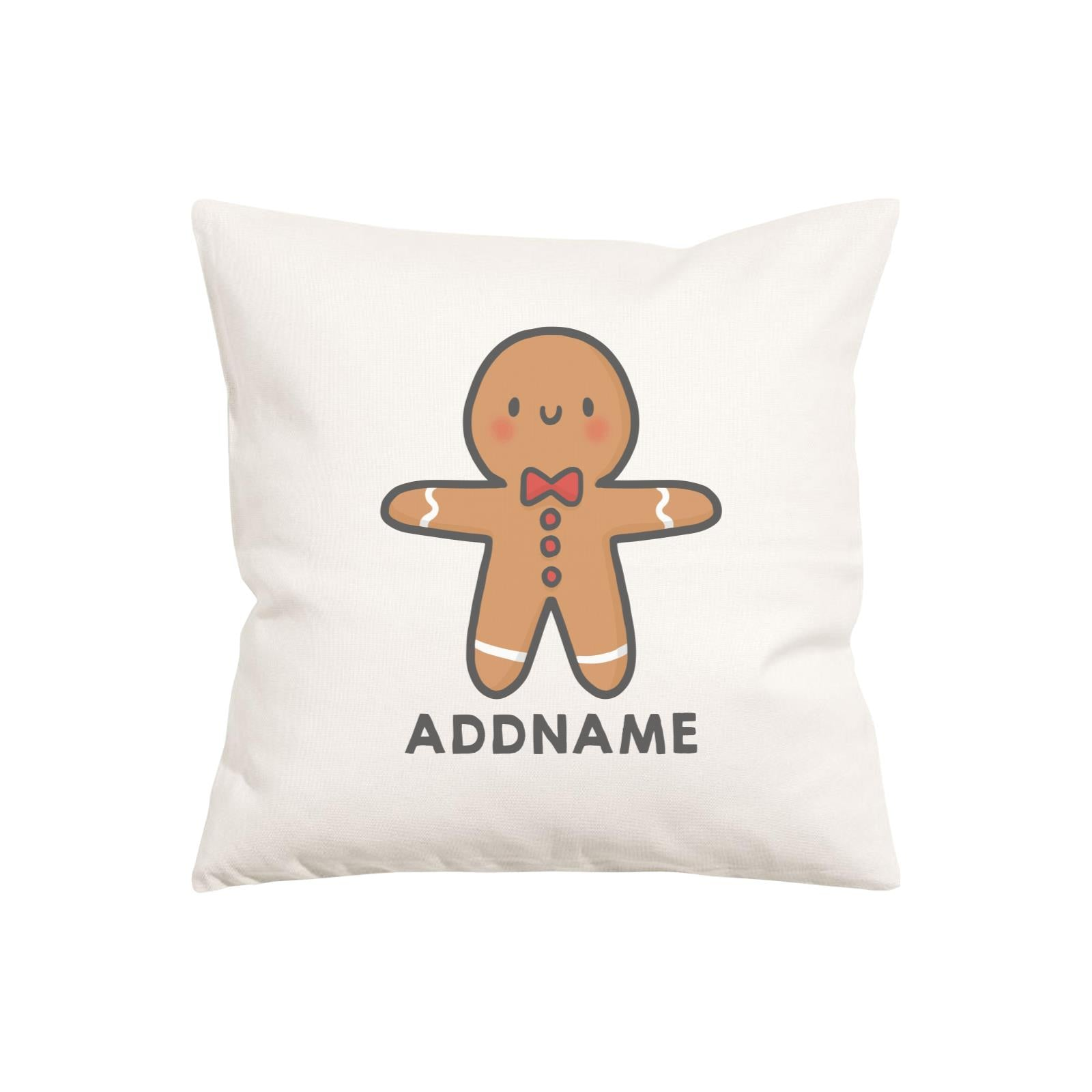 Xmas Cute Gingerbread Man Addname Pillow Cushion