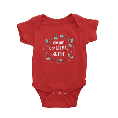 Holly Wreath Addname's Christmas Outfit Baby Romper  Personalizable Designs Matching Family